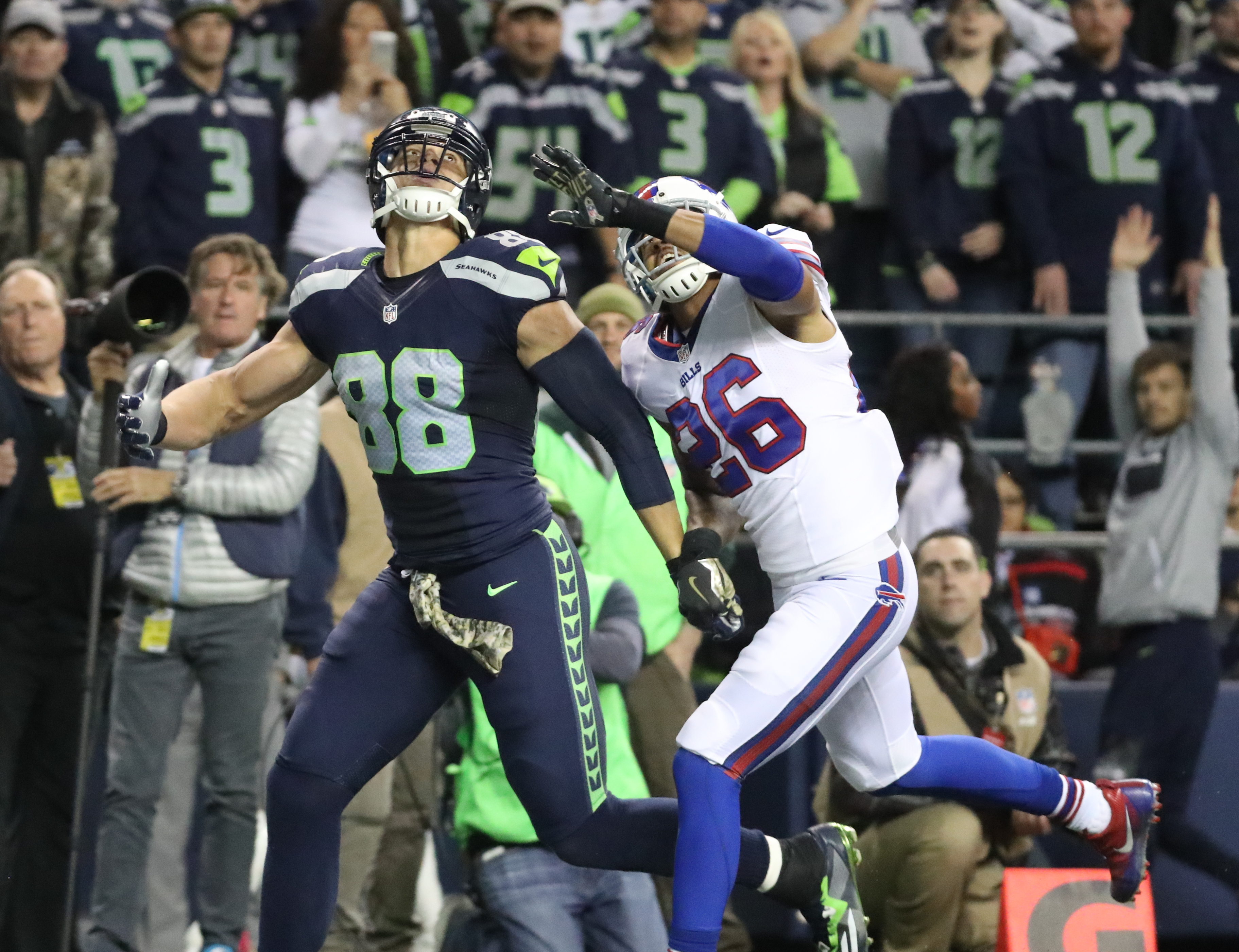 Buffalo Bills strong safety Robert Blanton (26) tries to defend Seattle Seahawks tight end Jimmy Graham (88) before Graham caught a touchdown pass in the second  quarter of a game at CenturyLink Field in Seattle on Monday, Nov.  7, 2016.  (James P. McCoy/Buffalo News)