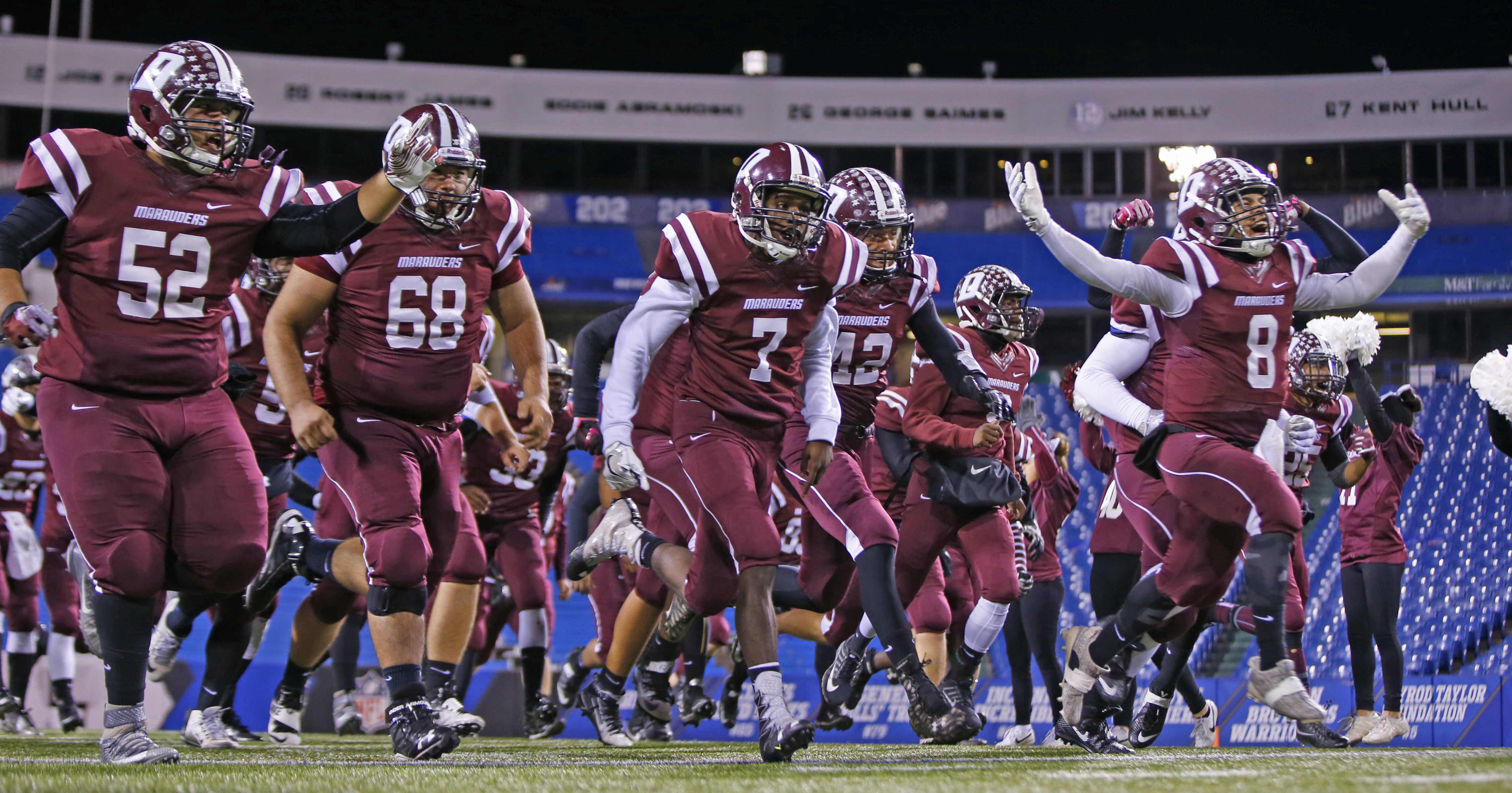 Dunkirk is introduced prior to playing Batavia in the Class B Far West Regional at New Era Field last week. (Harry Scull Jr./Buffalo News)