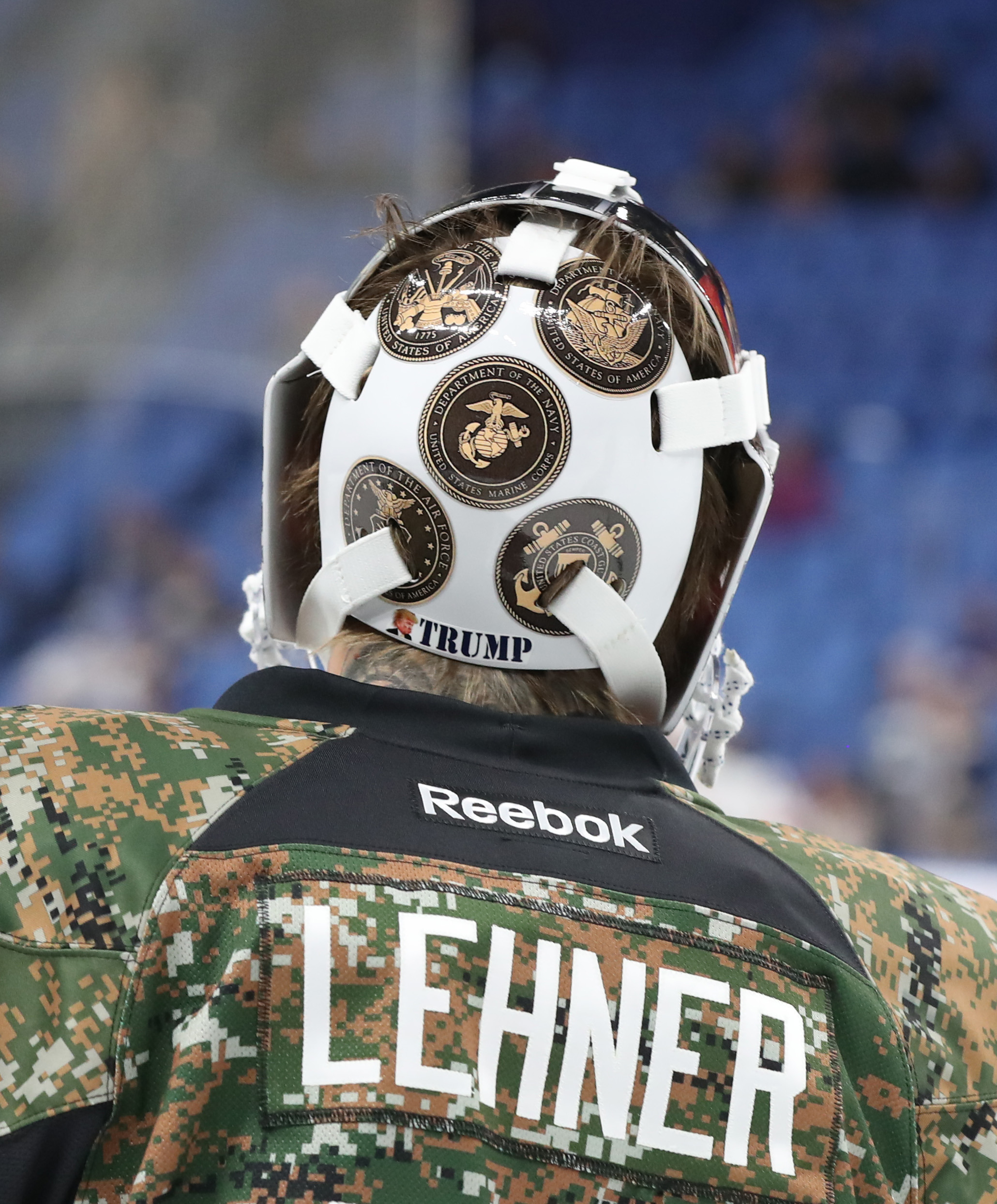 Robin Lehner unveiled his Donald Trump mask Nov. 10 and wore it briefly Nov. 11. It was gone Nov. 12. (James P. McCoy/Buffalo News)