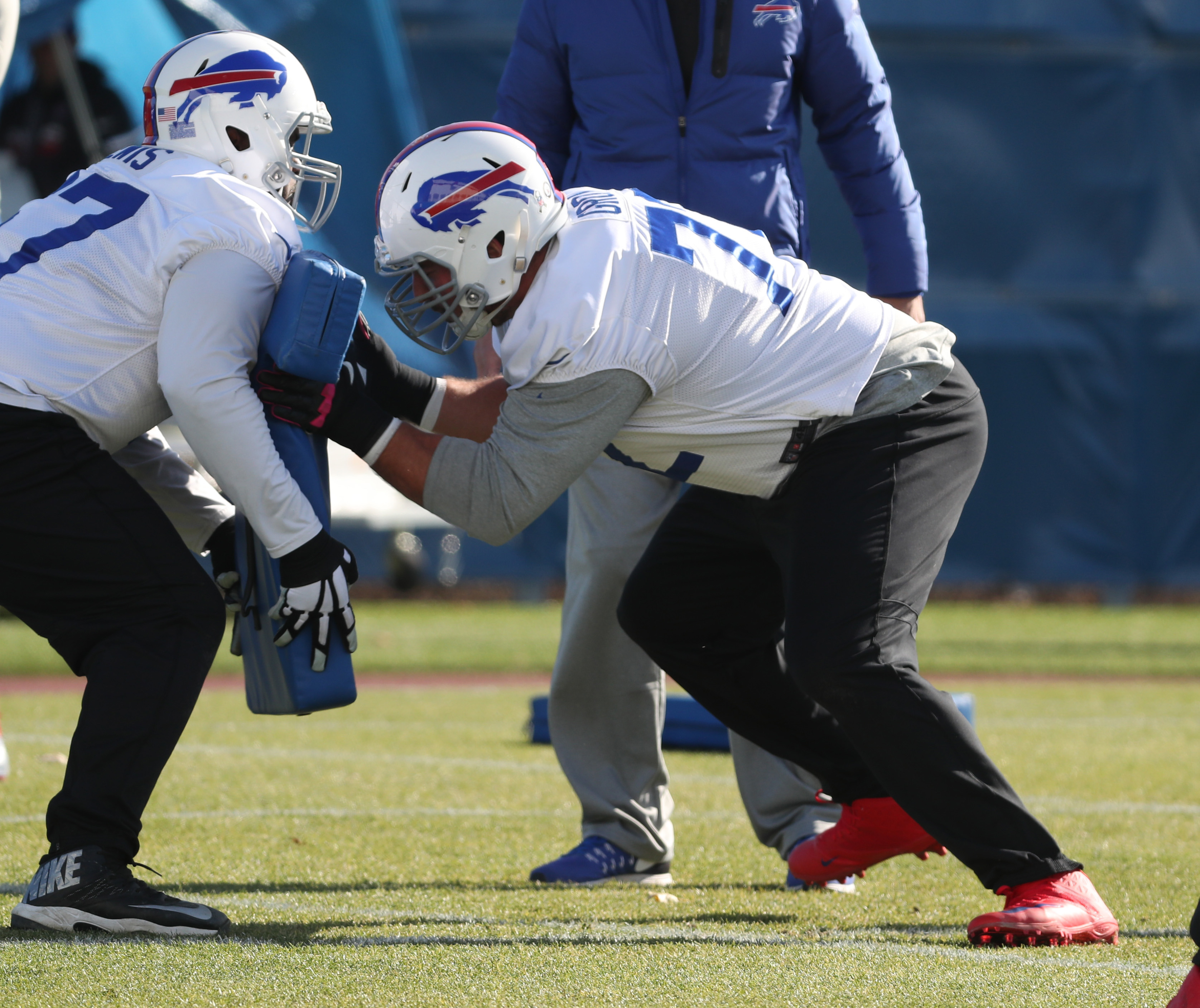 Buffalo Bills guard Ryan Groy (72) works on his footwork and blocking technique during practice at ADPRO Sports Training Center  in N.Y. on Monday, Nov. 14, 2016.  (James P. McCoy/Buffalo News)