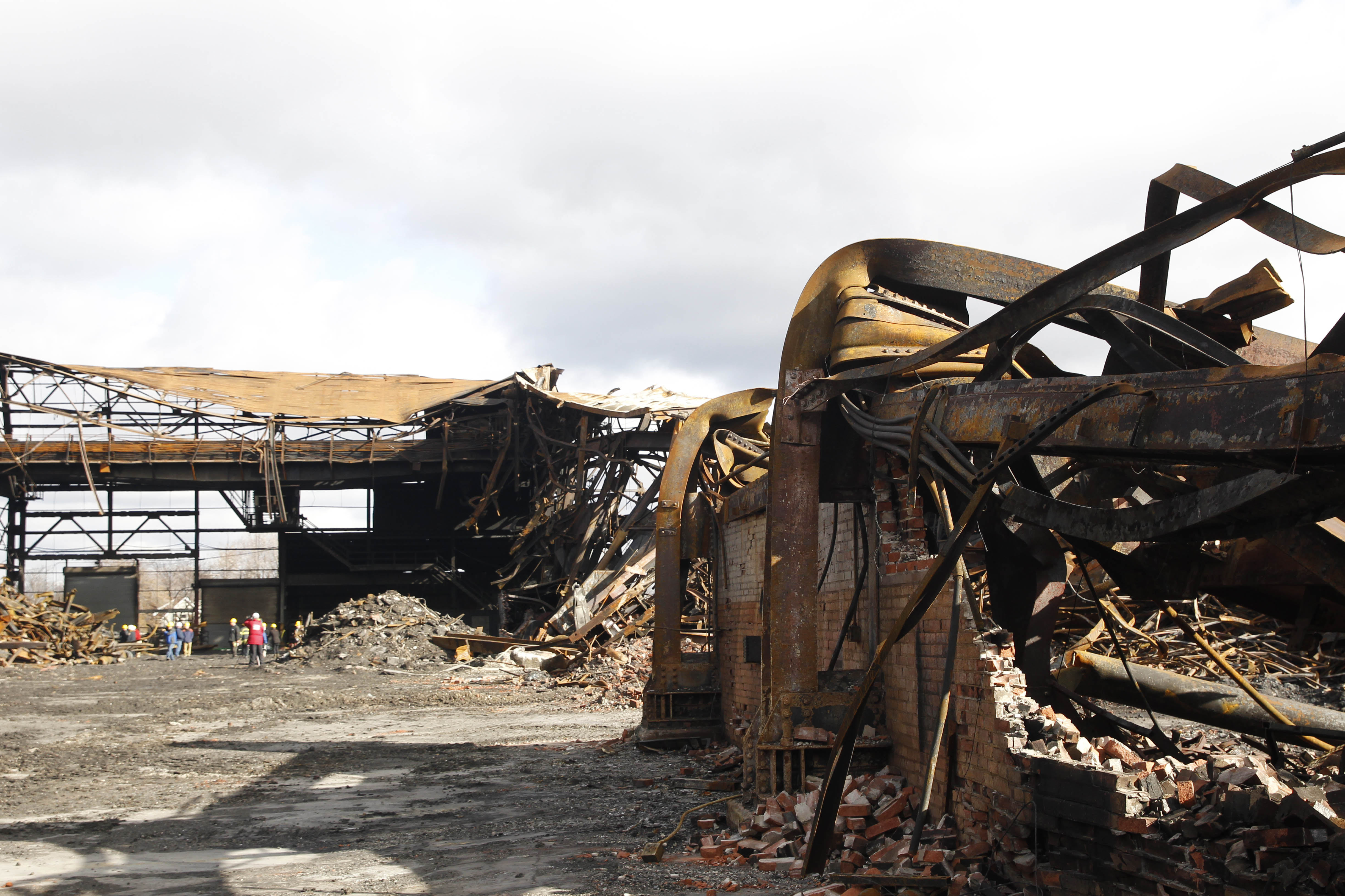 The wreckage of the Bethlehem Steel buildings in Lackawanna that were demolished by fire. (Sharon Cantillon/Buffalo News)