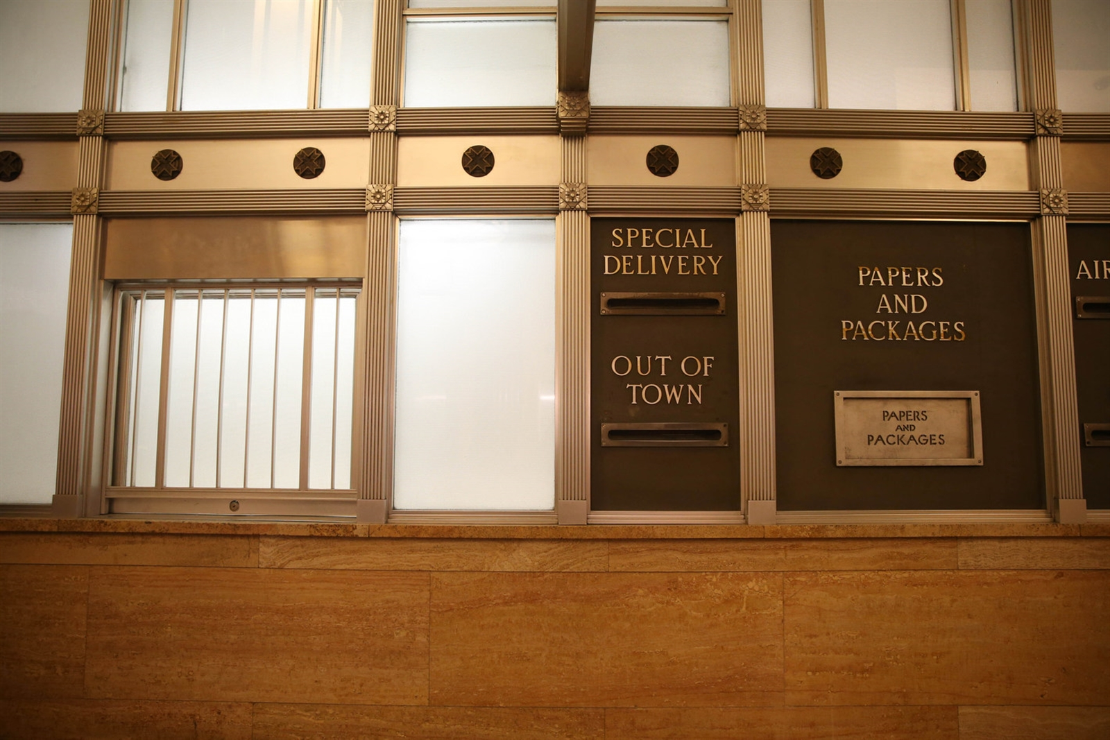 Mail slots at the former post office in the Dillon Courthouse. (Sharon Cantillon/Buffalo News)