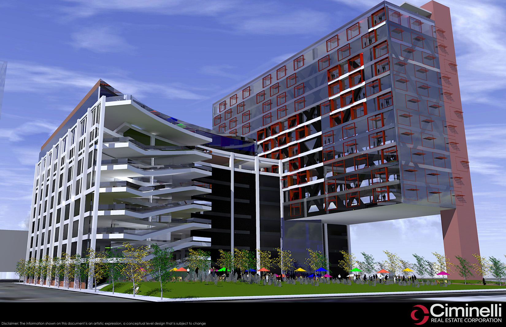 This is an early proposed rendering of the 201 Ellicott St. project, from earlier this year.