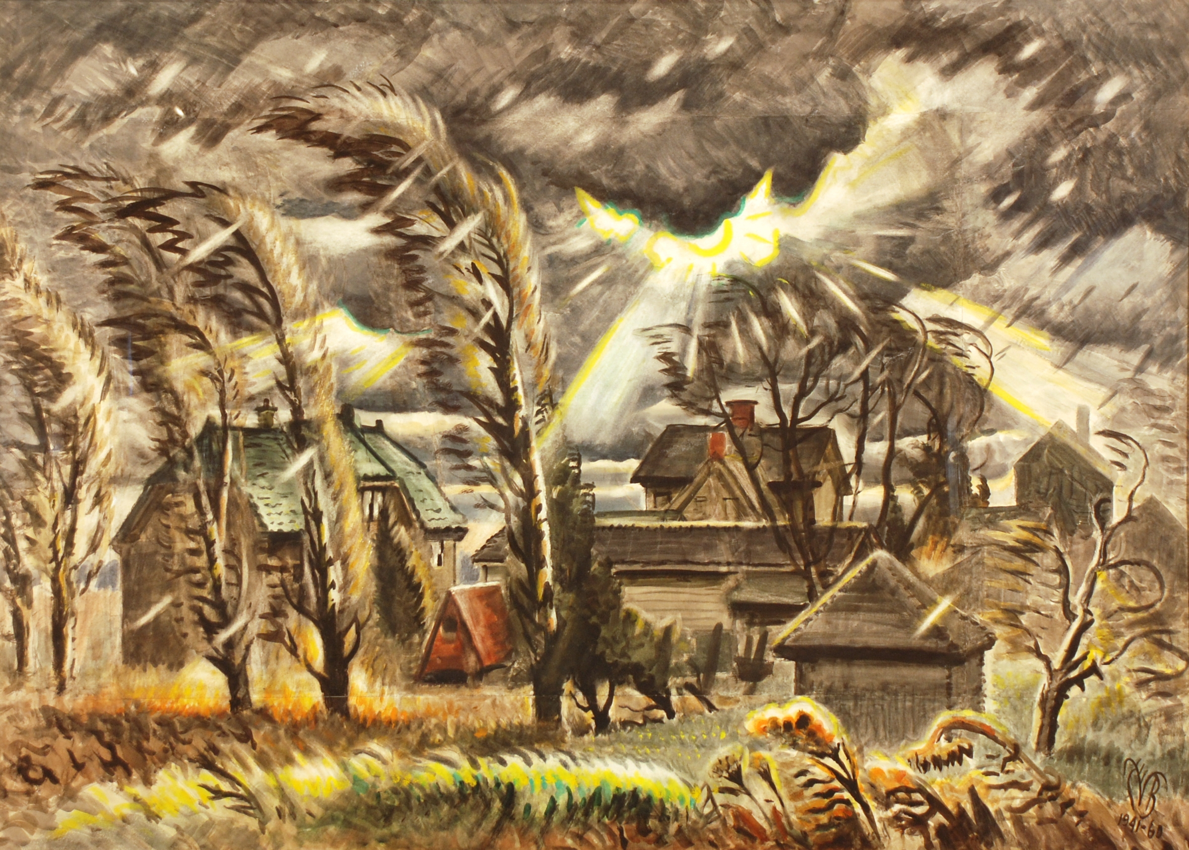 """""""December Storm,"""" a 1941-1960 painting by Charles E. Burchfield, was the centerpiece of the Burchfield Penney Art Center's first exhibition in 1966. It is also on view during the center's recreation of that exhibition to mark its 50th anniversary."""