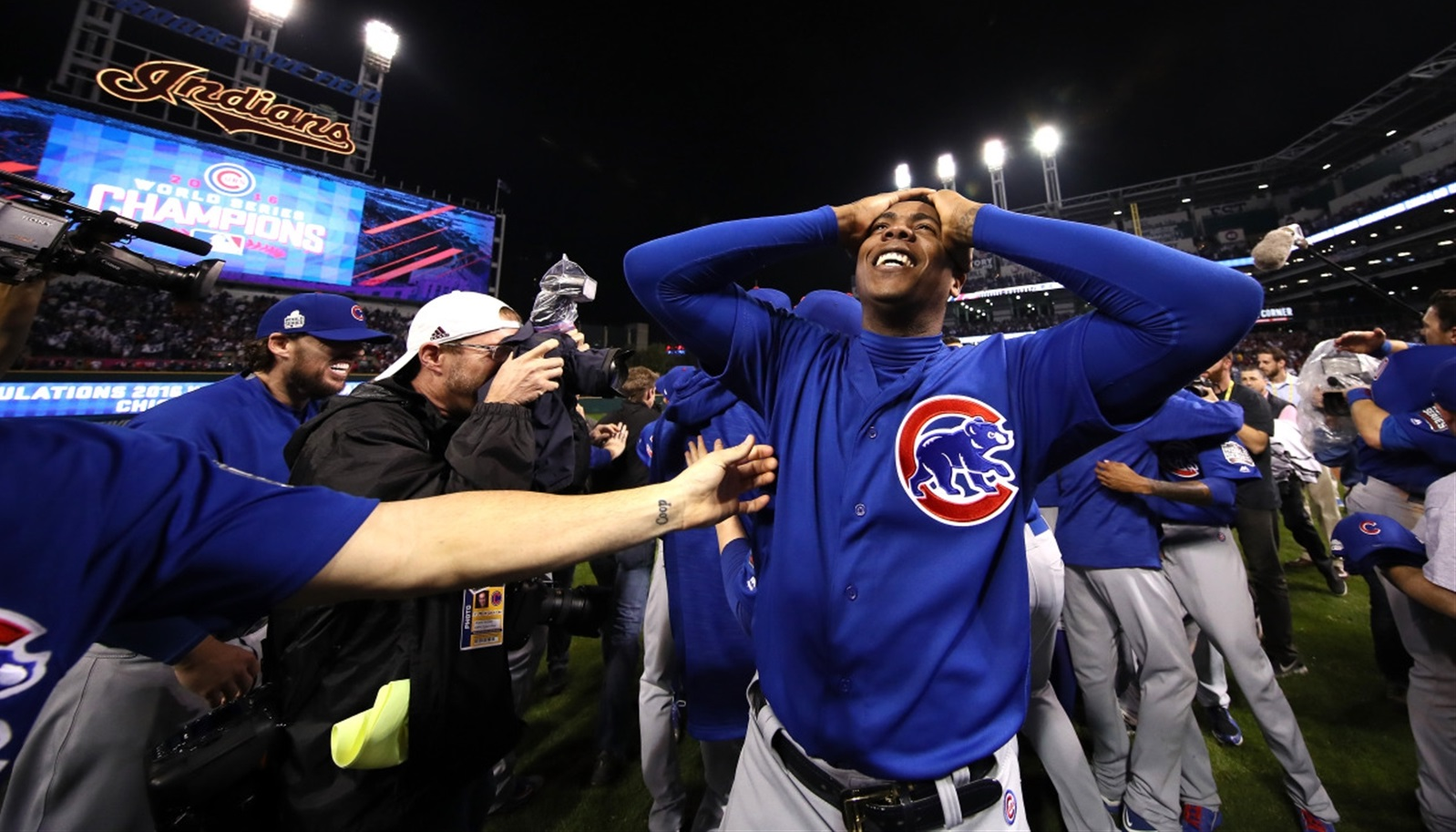 Cubs pitcher Aroldis Chapman celebrates Chicago's first World Series win in 108 years. (Getty Images)