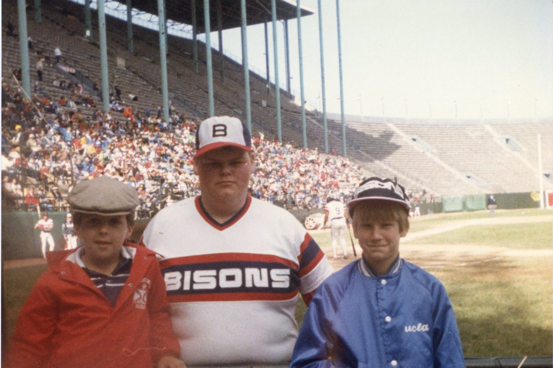 The Butcher with the grandchildren of Buffalo Baseball Hall of Famer Vince McNamara, circa 1985 at War Memorial Stadium (photo courtesy Pete Weber).