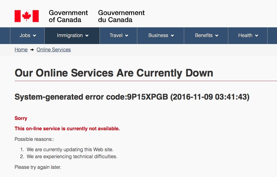 A screenshot of the Canadian Immigration site.