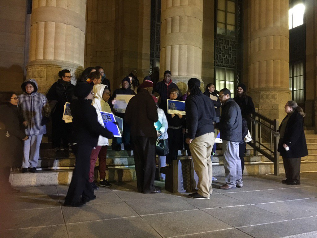 A crowd gathers outside  Buffalo City Hall on Monday, Nov. 14, 2016 to demand the City Council's help to keep housing from becoming too costly for residents of the Fruit Belt and other neighborhoods. (Matt Gryta/Buffalo News)