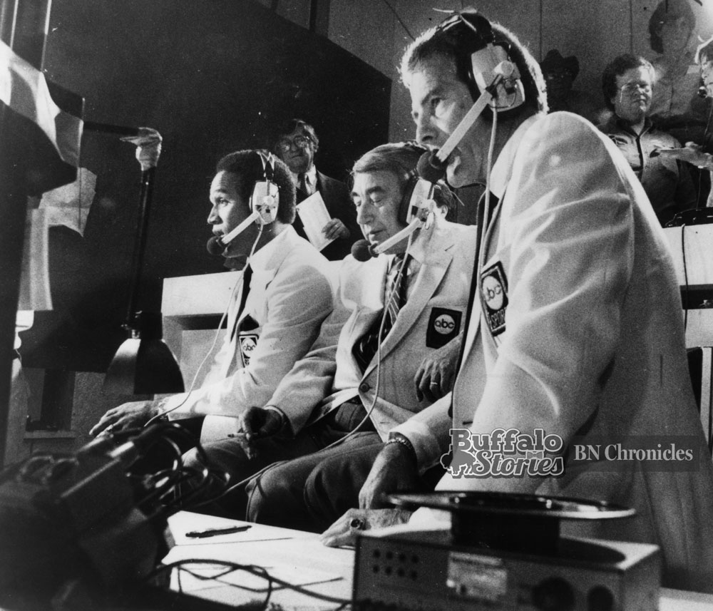 OJ Simpson, Howard Cosell, and Frank Gifford in the Rich Stadium press box, 1983. Buffalo News archives