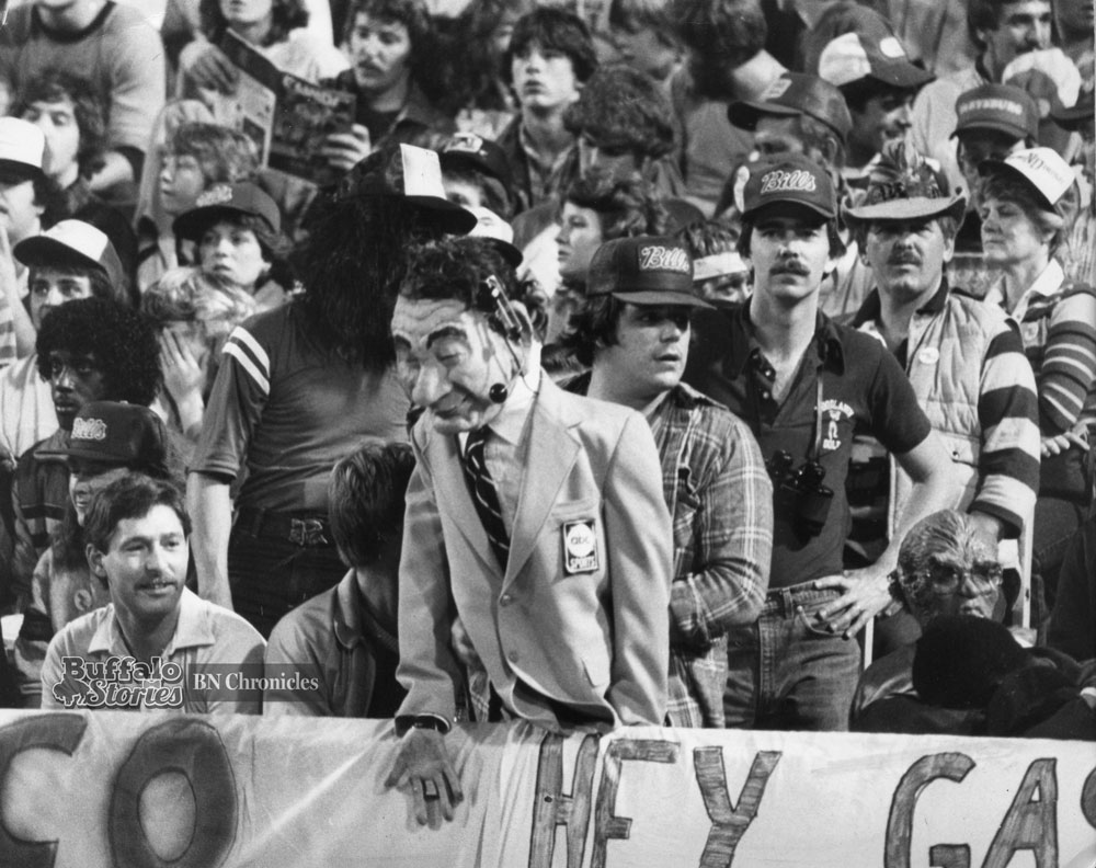 Bills Fans display a Howard Cosell puppet at a Monday Night game in 1983. Buffalo News archives