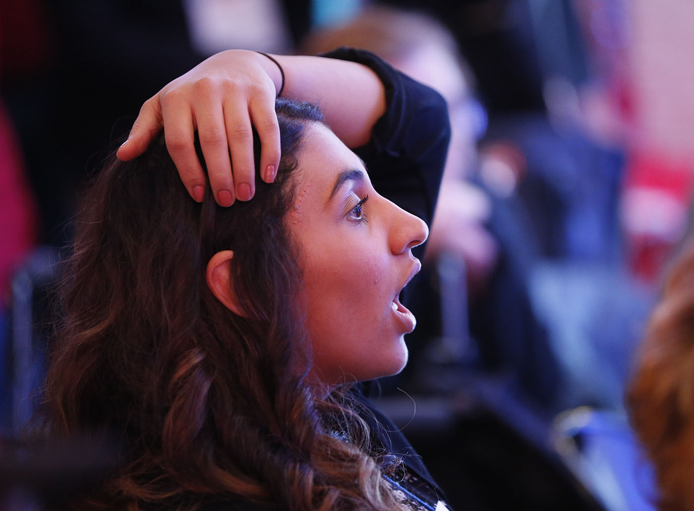 Aryeg Assour of the Town of Tonawanda reacts to ohio being called for trump during the Erie County Democratic Party election night event at the Democrat Headquarters in Larkinville on Tuesday, Nov. 8, 2016. (Derek Gee/Buffalo News)
