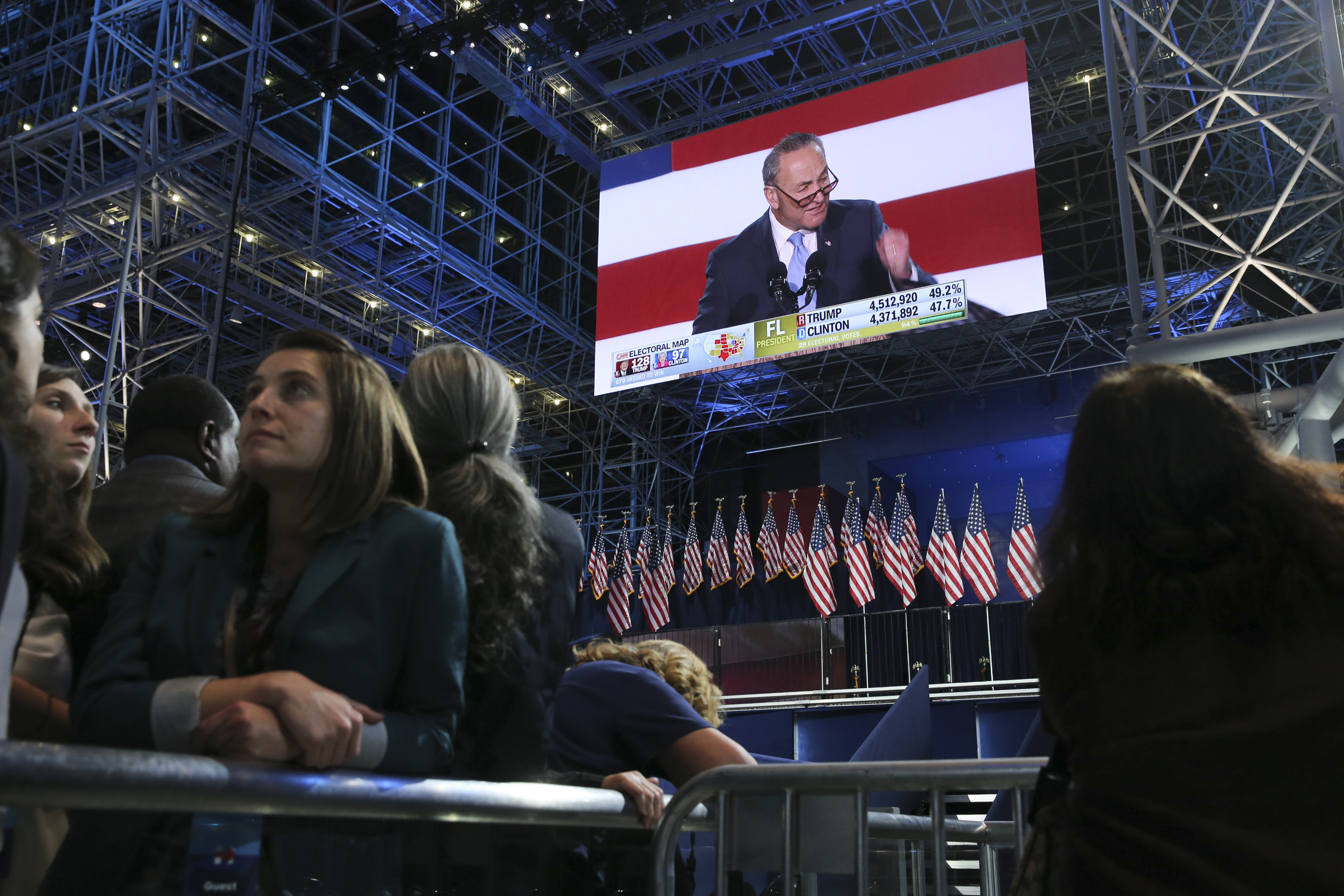 A video of Sen. Chuck Schumer plays during Hillary Clinton's election night event at the Javits Center in New York on Nov. 8. (Ruth Fremson/The New York Times)