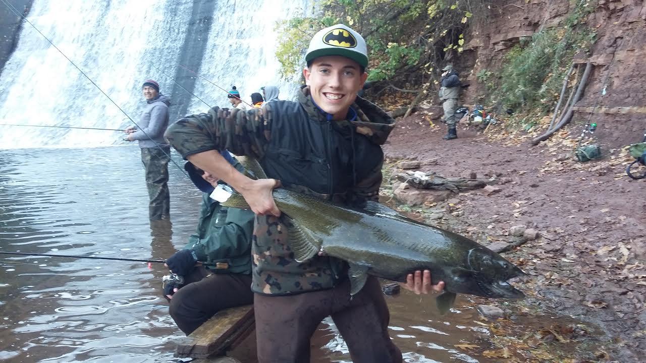 Evan Rohe of Cheektowaga caught this nice king at Burt Dam on 18 Mile Creek.