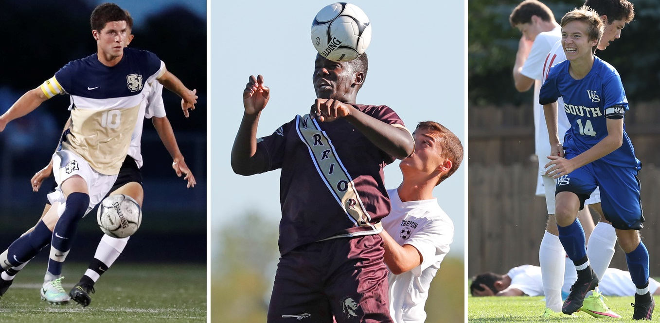 From left, Sweet Home's Noah Keem, Cheektowaga's Yanick Ndjibu and Williamsville South's Jared Burns are all in the Exceptional Seniors game Sunday. (Buffalo News file photos)
