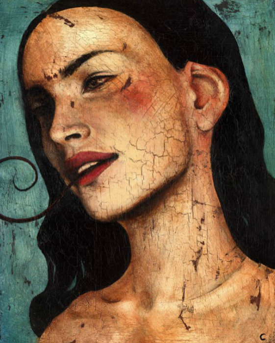 """Craig LaRotonda's """"The Unclean Spirit,"""" an oil and acrylic painting on wood, demonstrates the artist's unique approach to portraiture. Photo from revelationart.net."""