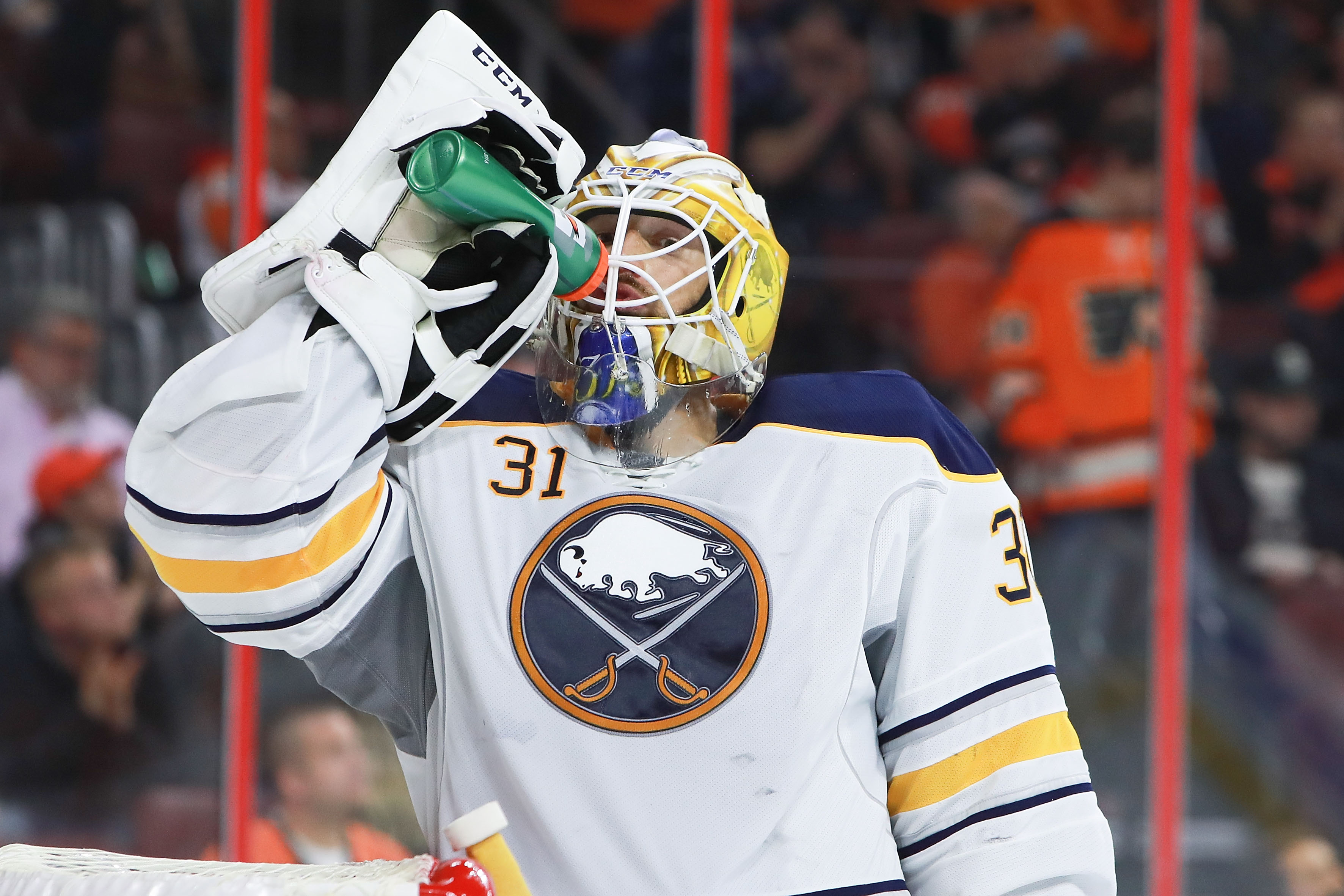Sabres goaltender Anders Nilsson will look to continue his hot play. (Getty Images)