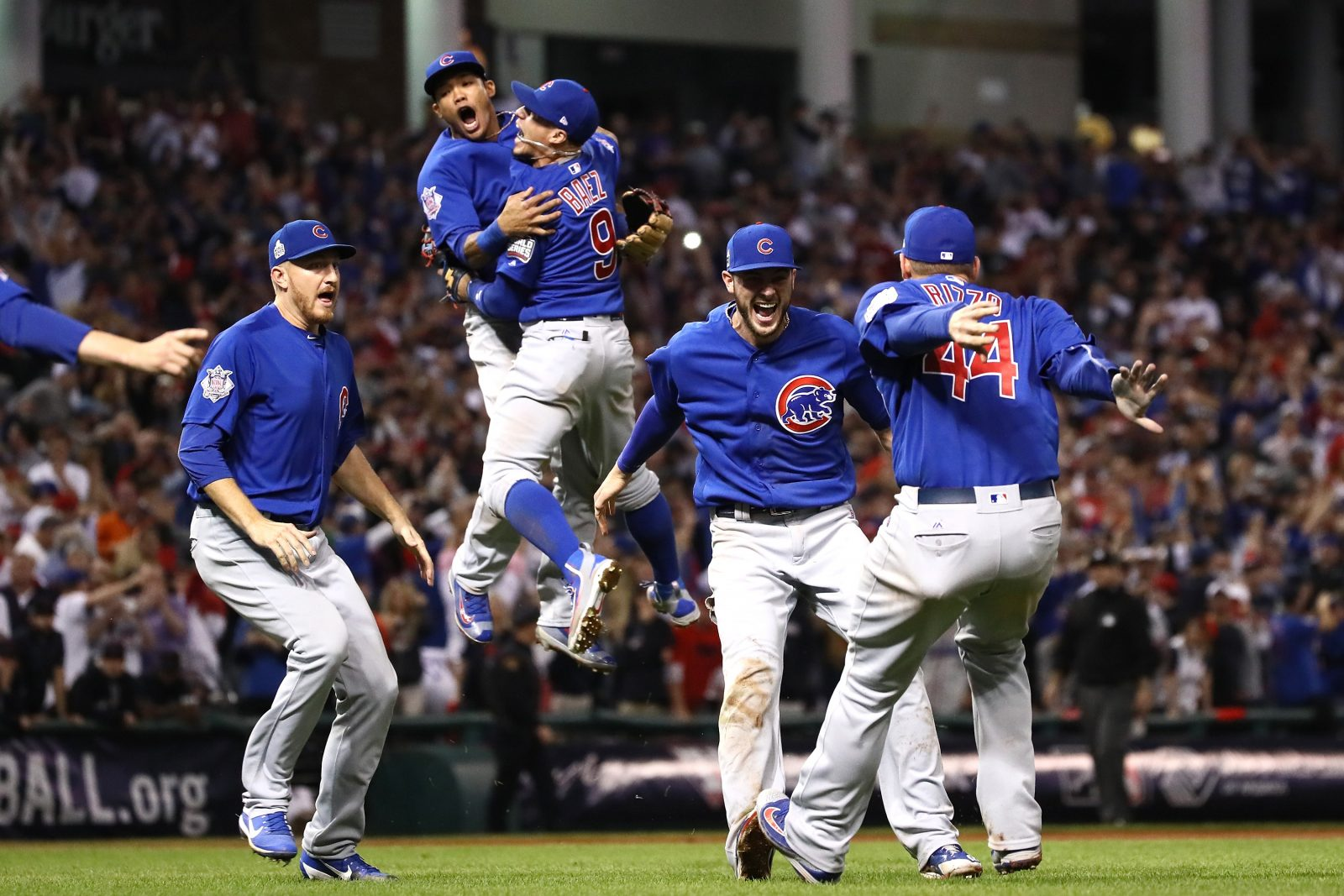 The Chicago Cubs celebrate after winning 8-7 in Game Seven of the 2016 World Series at Progressive Field. (Photo by Ezra Shaw/Getty Images)