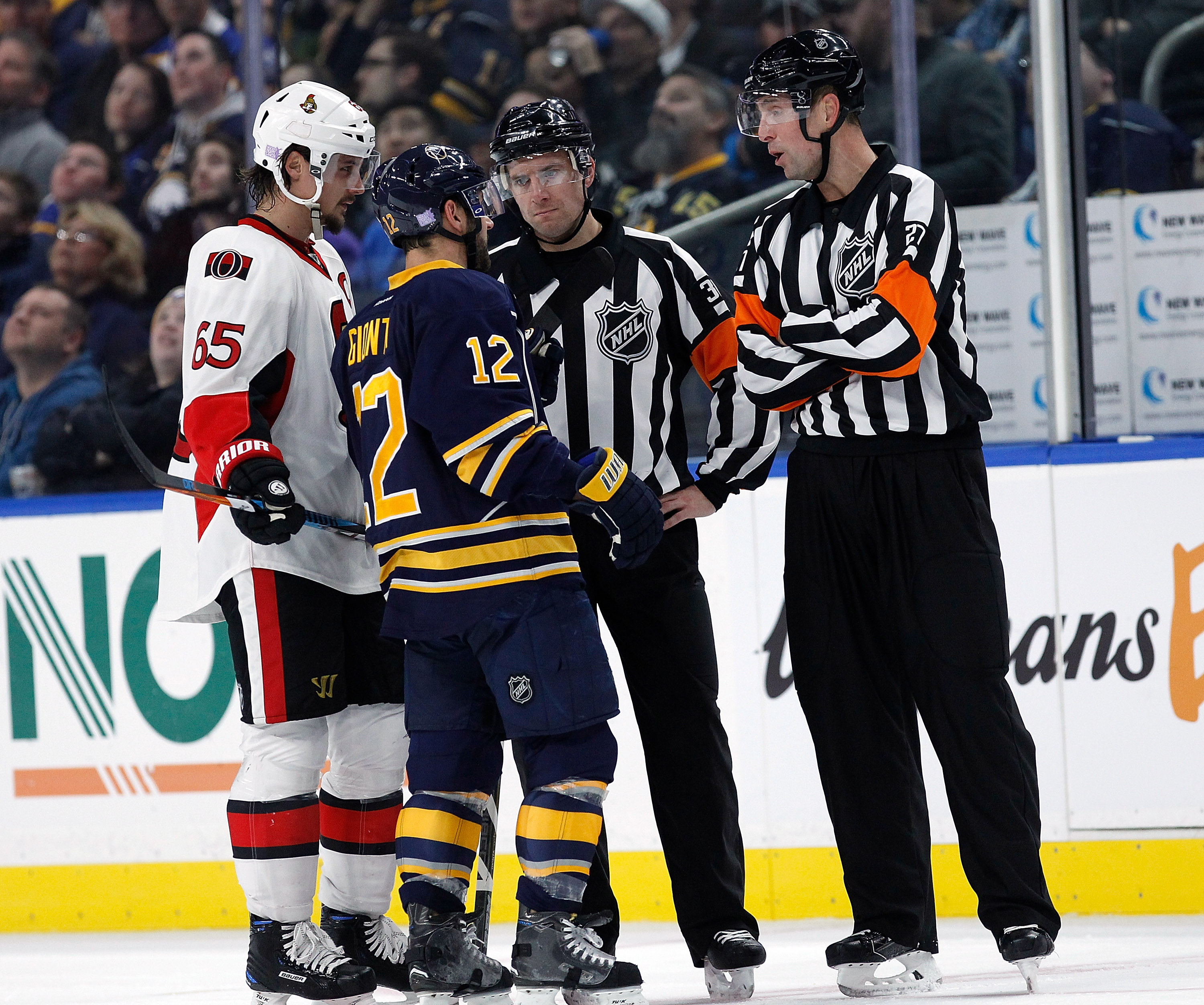 Brian Gionta and the Sabres have had a lot of interaction with referees lately. (Getty Images)