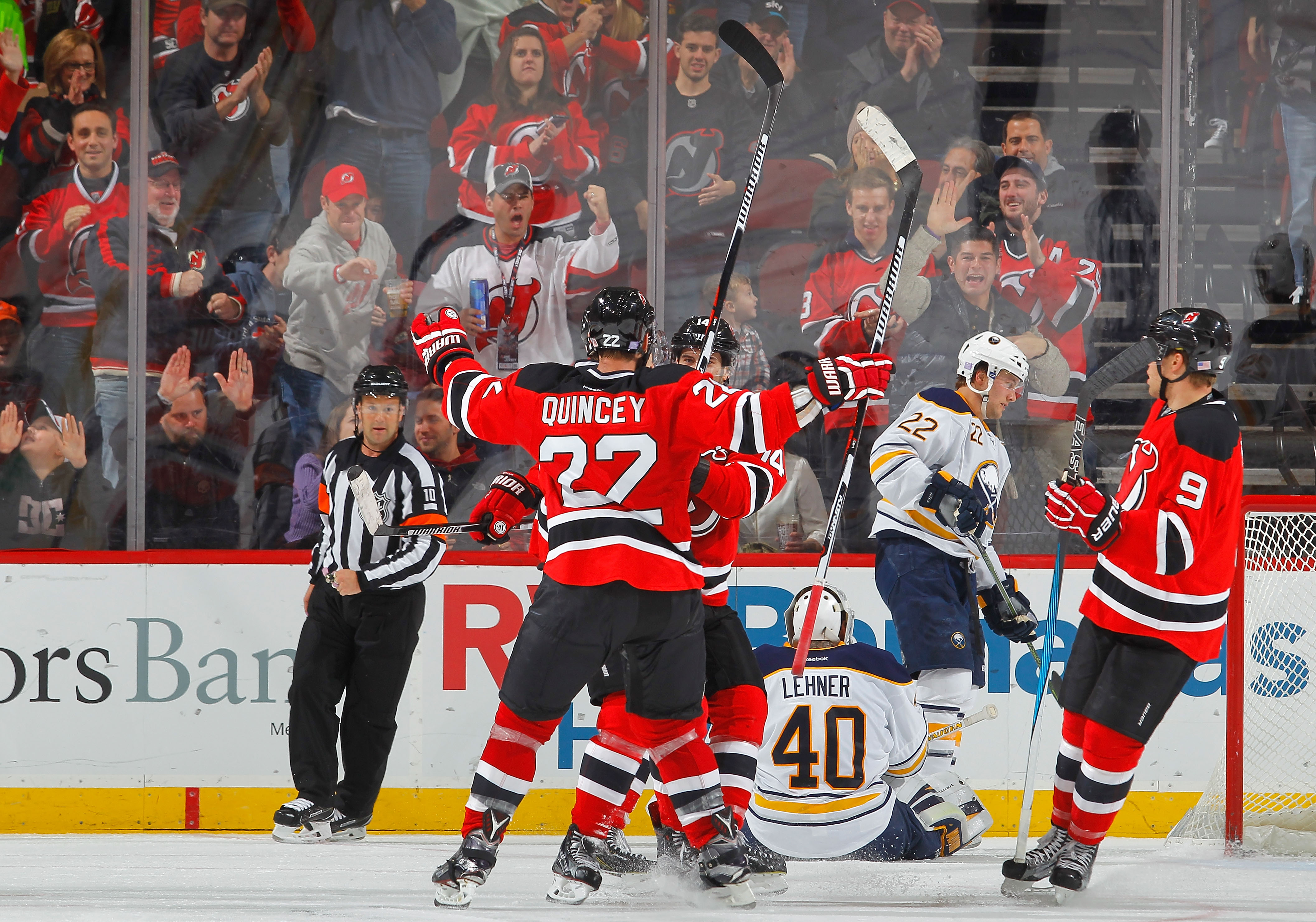 The Sabres looked like a tired, beaten bunch for much of the loss in New Jersey.  (Getty Images)