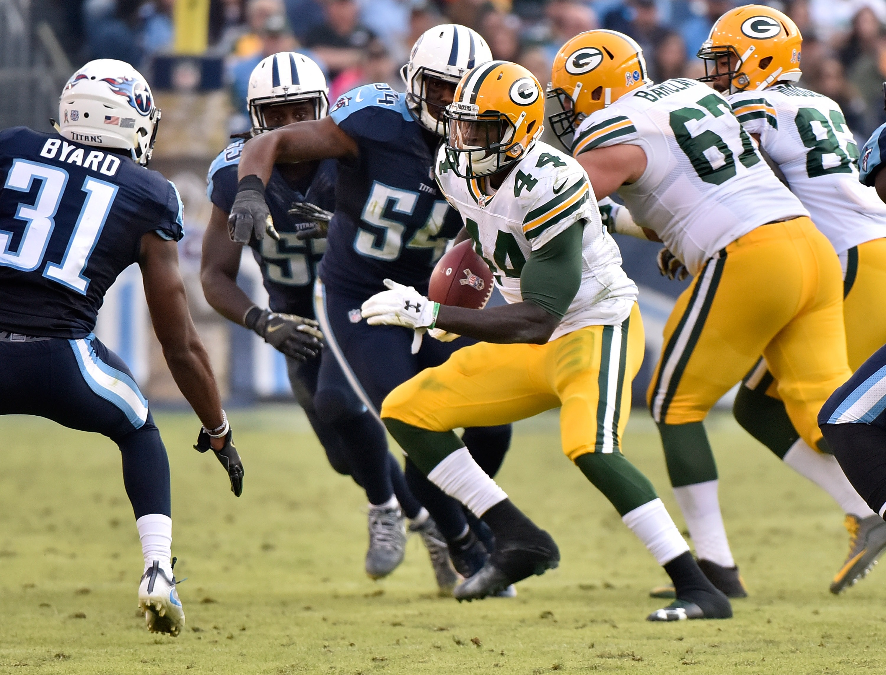 James Starks returned for the Green Bay Packers in Week 10 after missing four games because of a knee injury. (Getty Images)