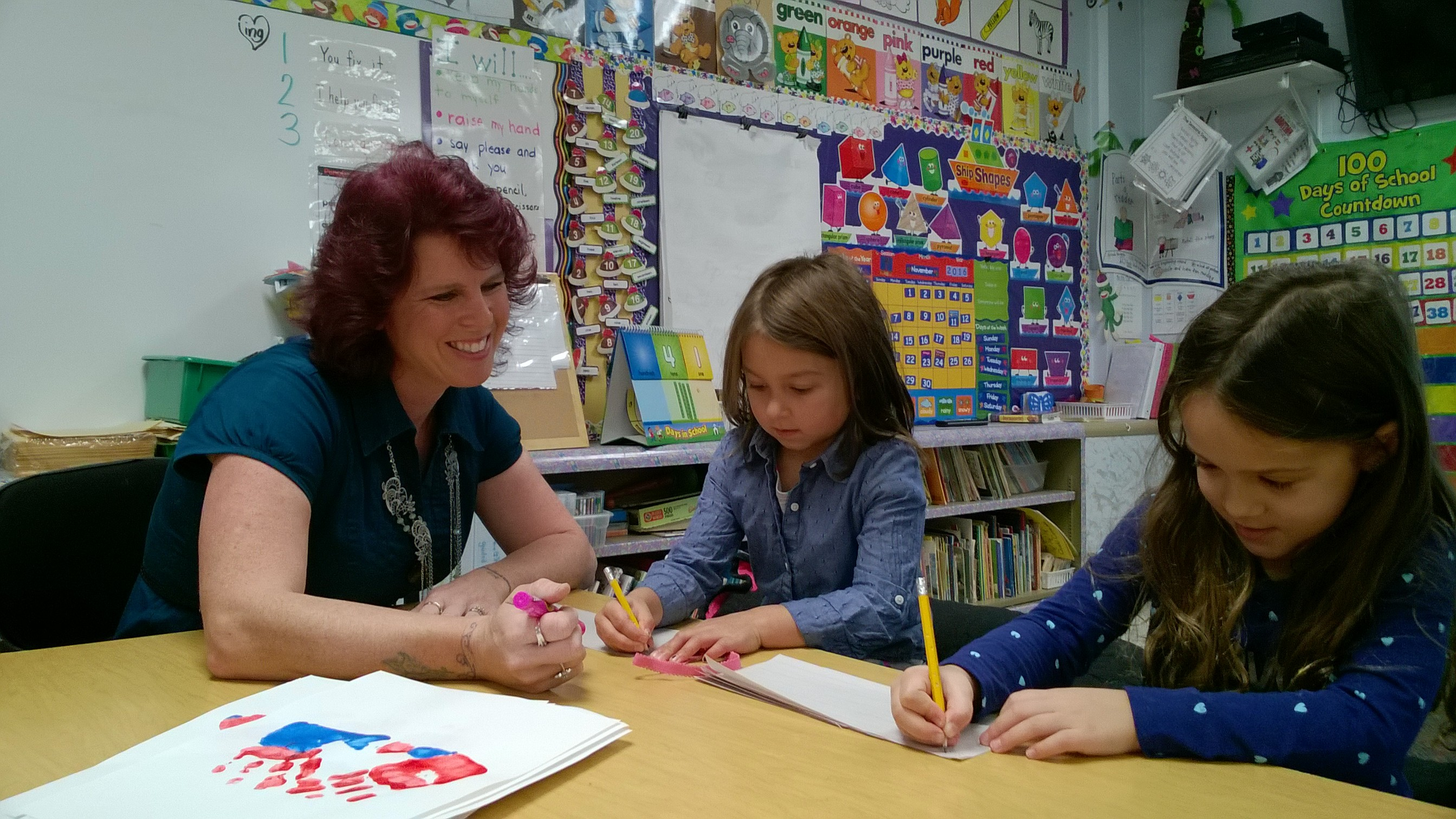 Royalton-Hartland Elementary School teacher Heather Pedini with two students, Taegan Stern and Sabrina Maline. (Provided photo)