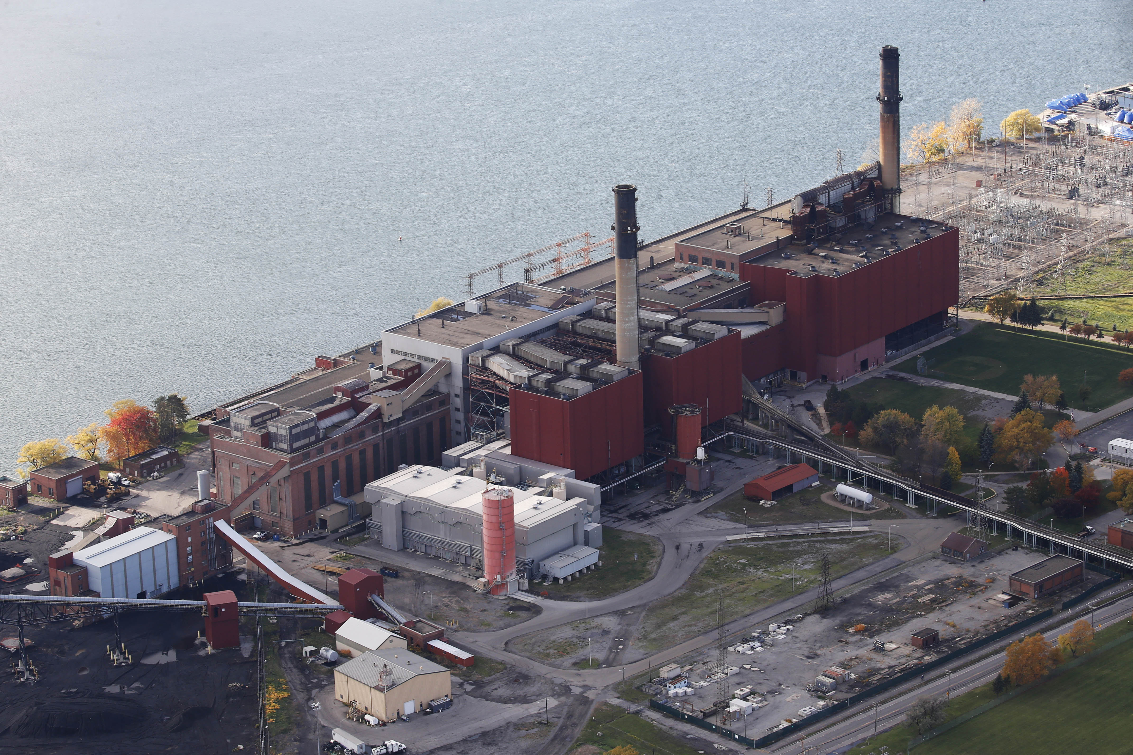 The now-retired Huntley Station power plant in the Town of Tonawanda, shot from the air on Friday, Nov. 4, 2016.  (Derek Gee/Buffalo News)