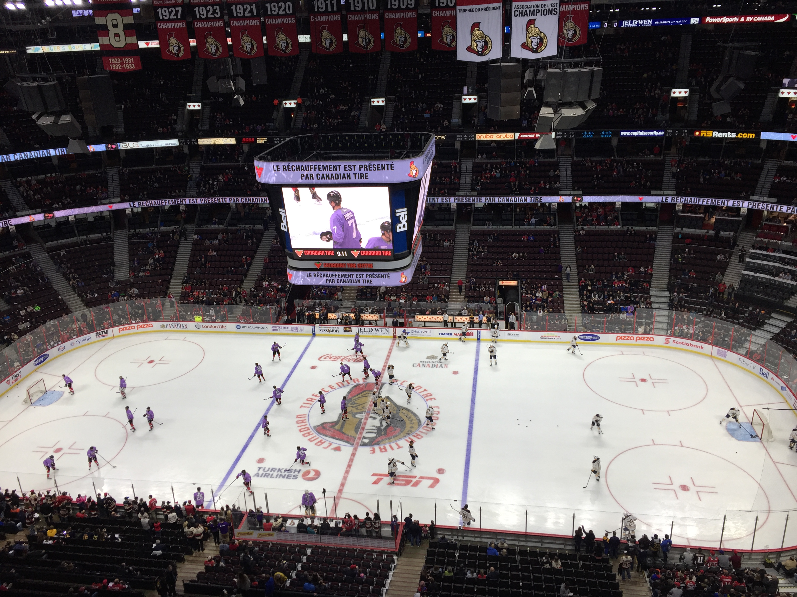 The Senators hosted Buffalo on Hockey Fights Cancer Night.