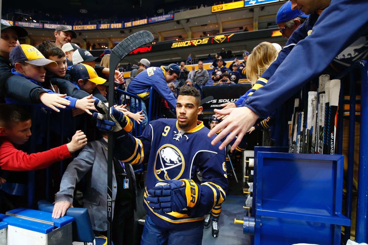 Evander Kane hits the ice for Monday's game against Calgary in KeyBank Center (Harry Scull Jr./Buffalo News).
