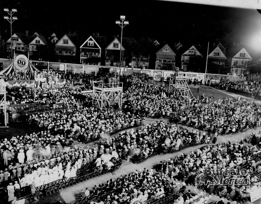 Landon rally at Offermann Stadium. The ballpark was one block east of Main Street at Michigan Avenue. The spot is now occupied by Buffalo Academy for Visual and Performing Arts. Buffalo News archives