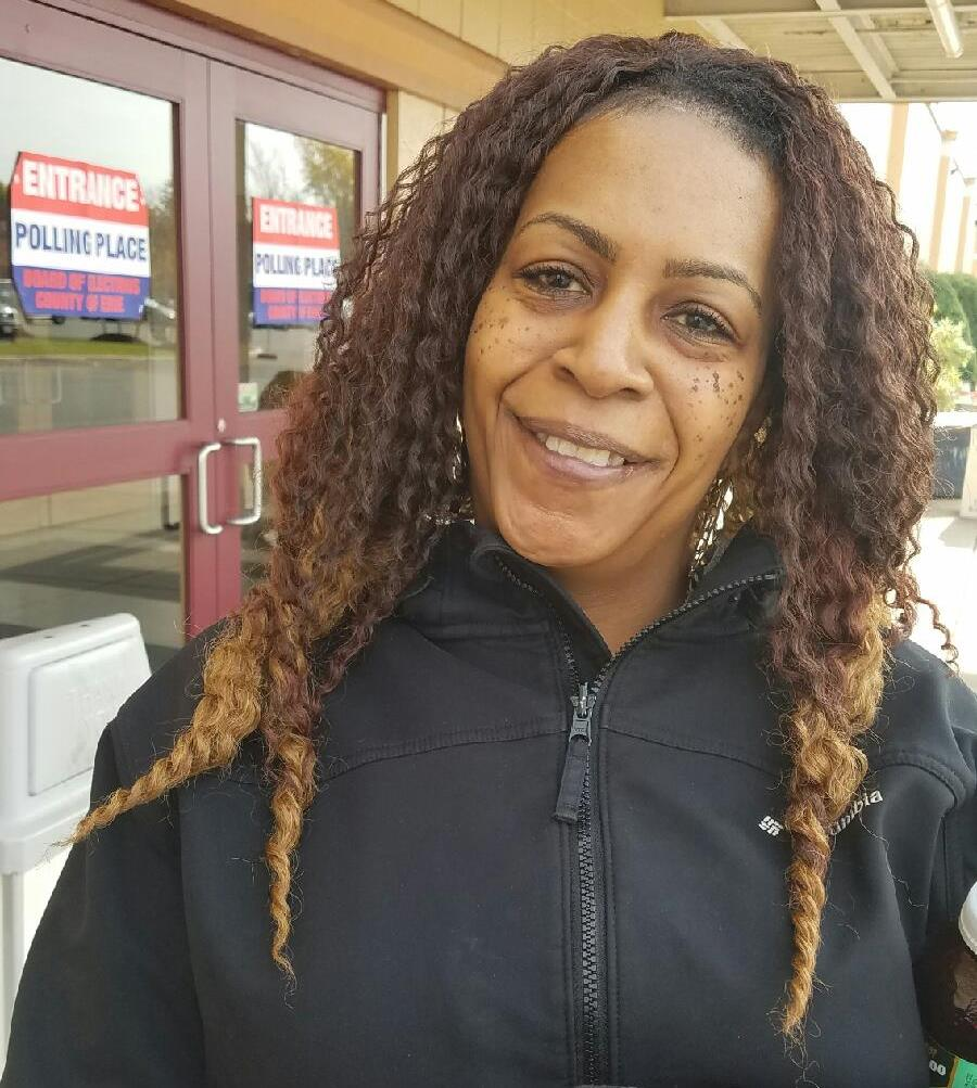 Lashy Lucas, a childcare worker from Buffalo, voted Tuesday Nov. 8, 2016 for Democratic presidential candidate Hillary Clinton at a polling site in the Masten 32 election district, where 96 percent of the registered voters are African-American. That election district on Buffalo's east side has the highest percentage of African-American voters in Erie County.  (Harold McNeil / The Buffalo News)
