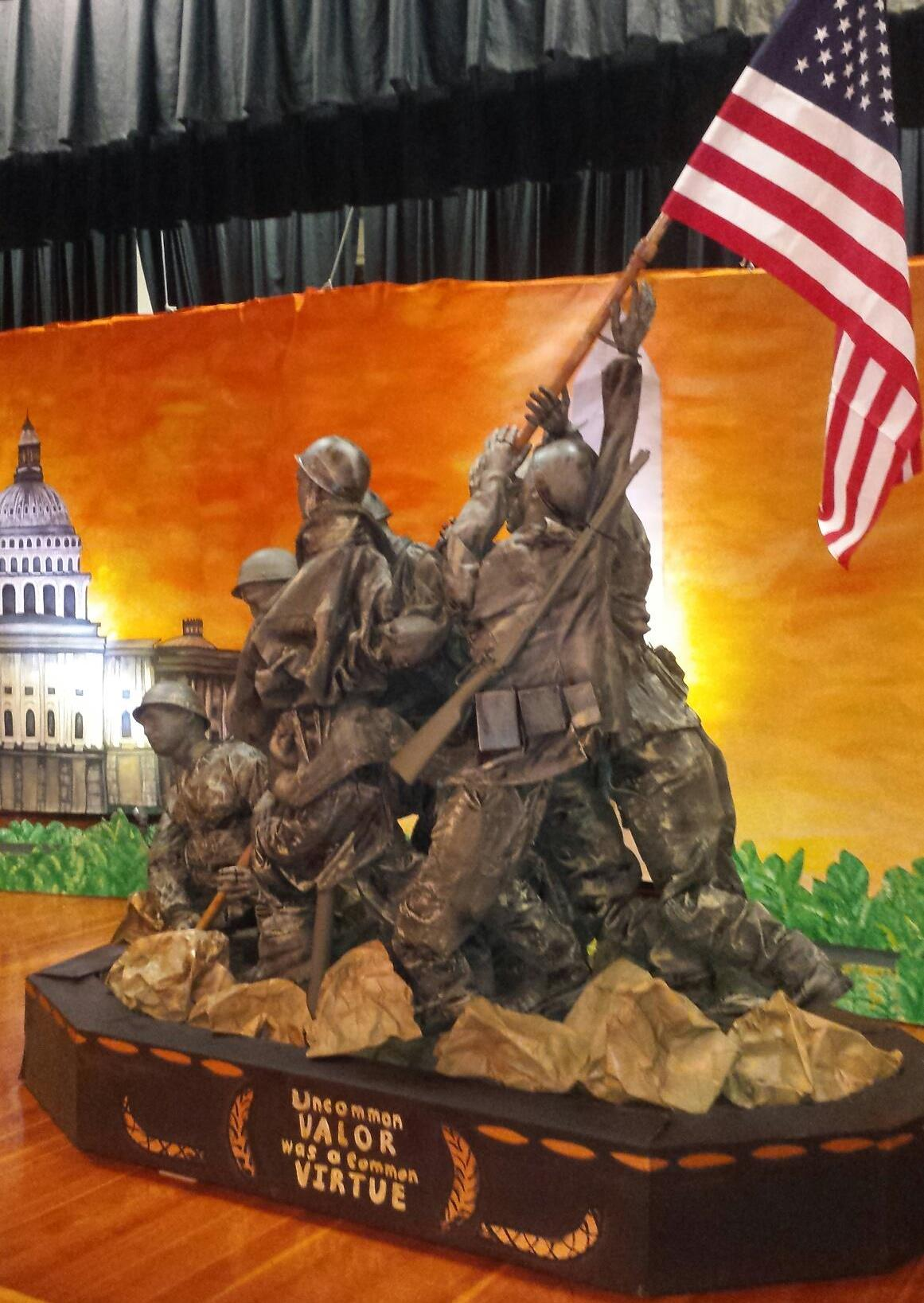 Royalton-Hartland Elementary School teacher Heather Pedini created this replica of the U.S. Marine Corps Memorial, a monument in Arlington, Va. Washington D.C. She will display it at the Barker Fire Department's annual dinner for veterans on Nov. 13, 2016. (Provided photo)