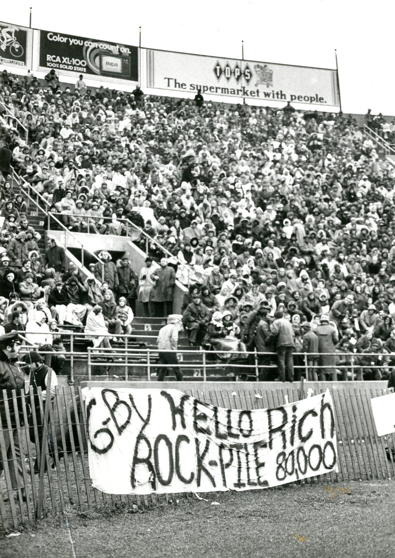 Fans bid farewell to the Rockpile at the Bills' final game in War Memorial Stadium in 1972. (Buffalo News file photo)