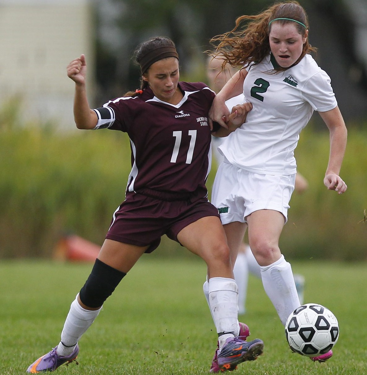 Sacred Heart's Jenna Tomizzi battles for a loose ball in 2012. (Mark Mulville/Buffalo News file photo)