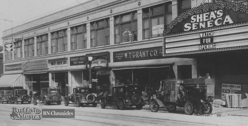 The terra cotta-faced Shea's Seneca building, as it looked when opened in 1930. Aside from the movie house, the building housed an FW Woolworth 5&10, Endicott-Johnson Shoes, a Danahy-Faxon grocery store and a WT Grant store.
