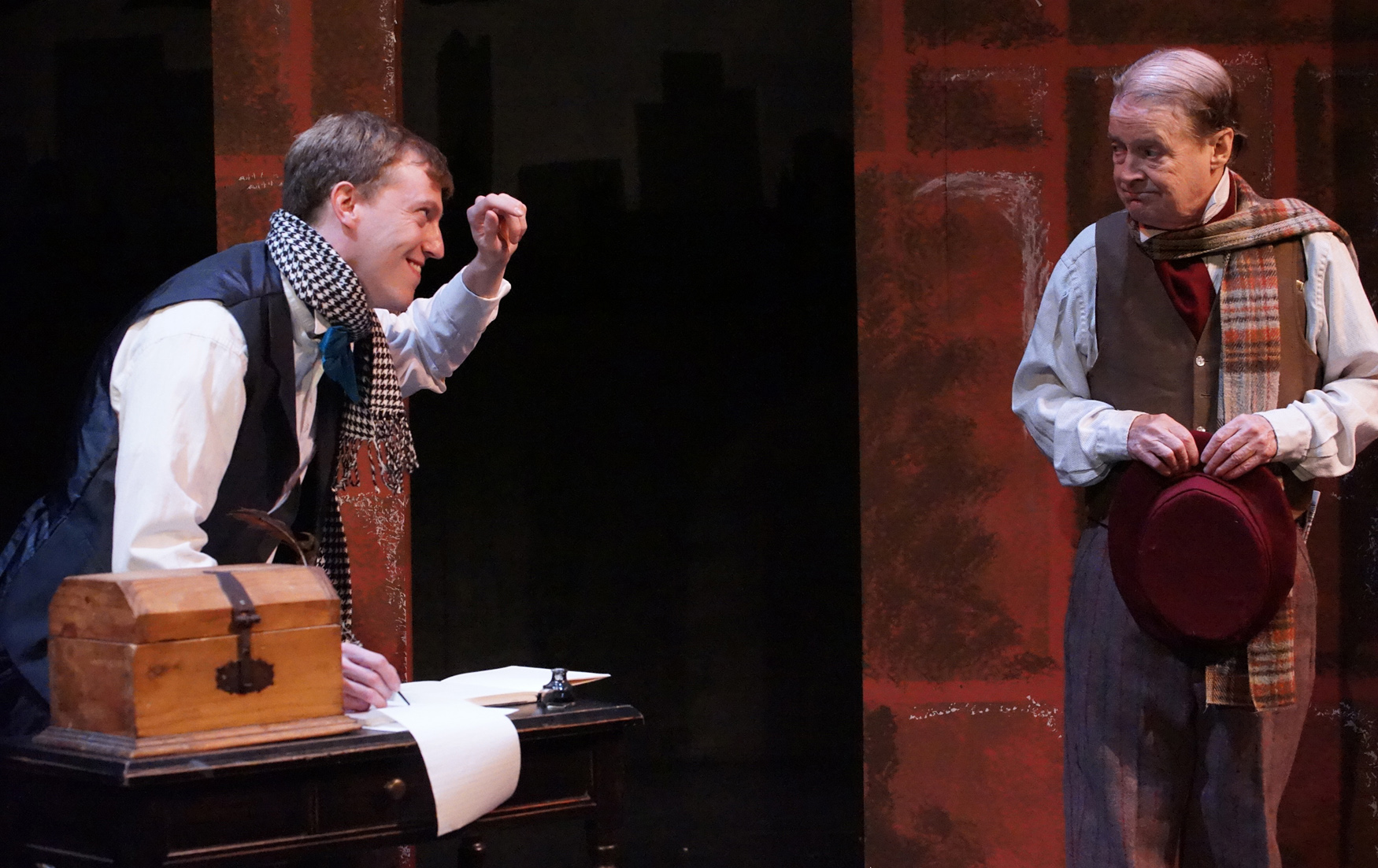 Steve Brachmann, left, and Gerry Maher appear in Road Less Traveled Theatre's production of 'The Chimes: A Goblin Story.'