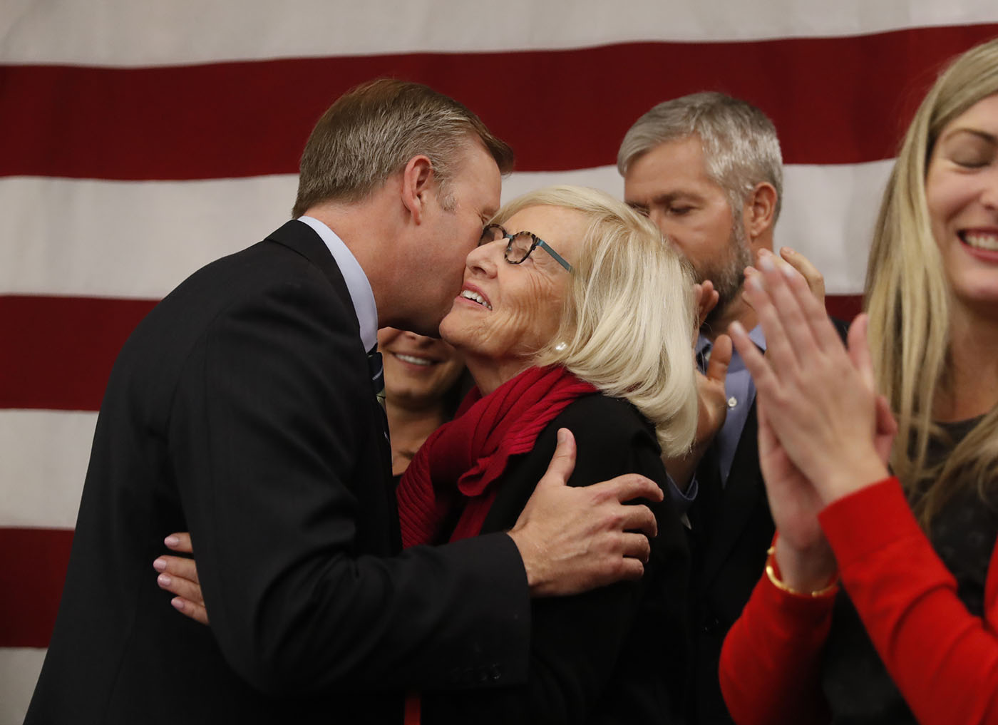 Chris Jacobs kisses his mom Pam Jacobs during the Erie County Republican Party's election night event at the Avant Building on Tuesday, Nov. 8, 2016. (Harry Scull Jr./Buffalo News)