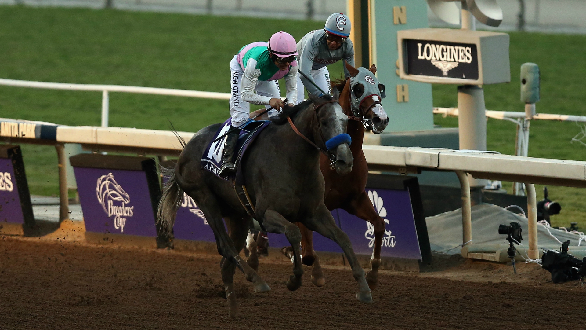 Arrogate, left, with Mike Smith up, won the Breeders' Cup Classic over California Chrome Saturday at Santa Anita. /Getty Images