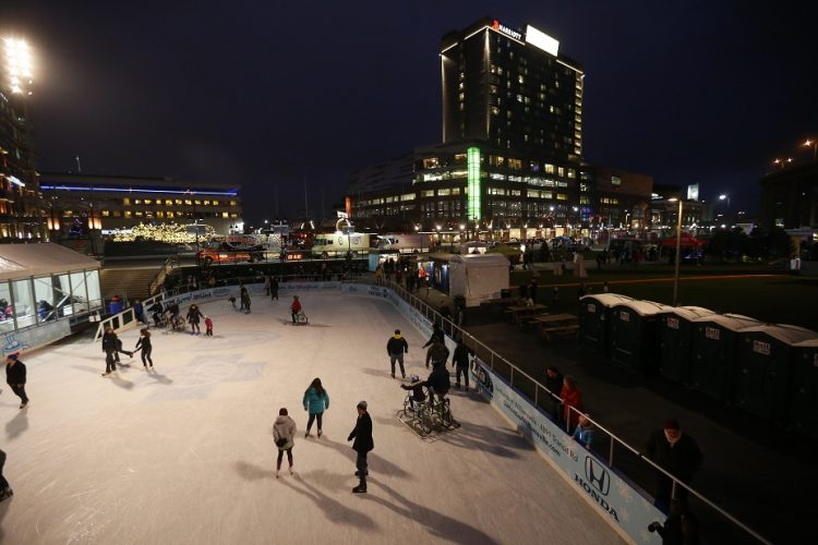 A tree lighting and other holiday festivities at Canalside will be held at 5 p.m. today. (Mark Mulville/Buffalo News file photo)