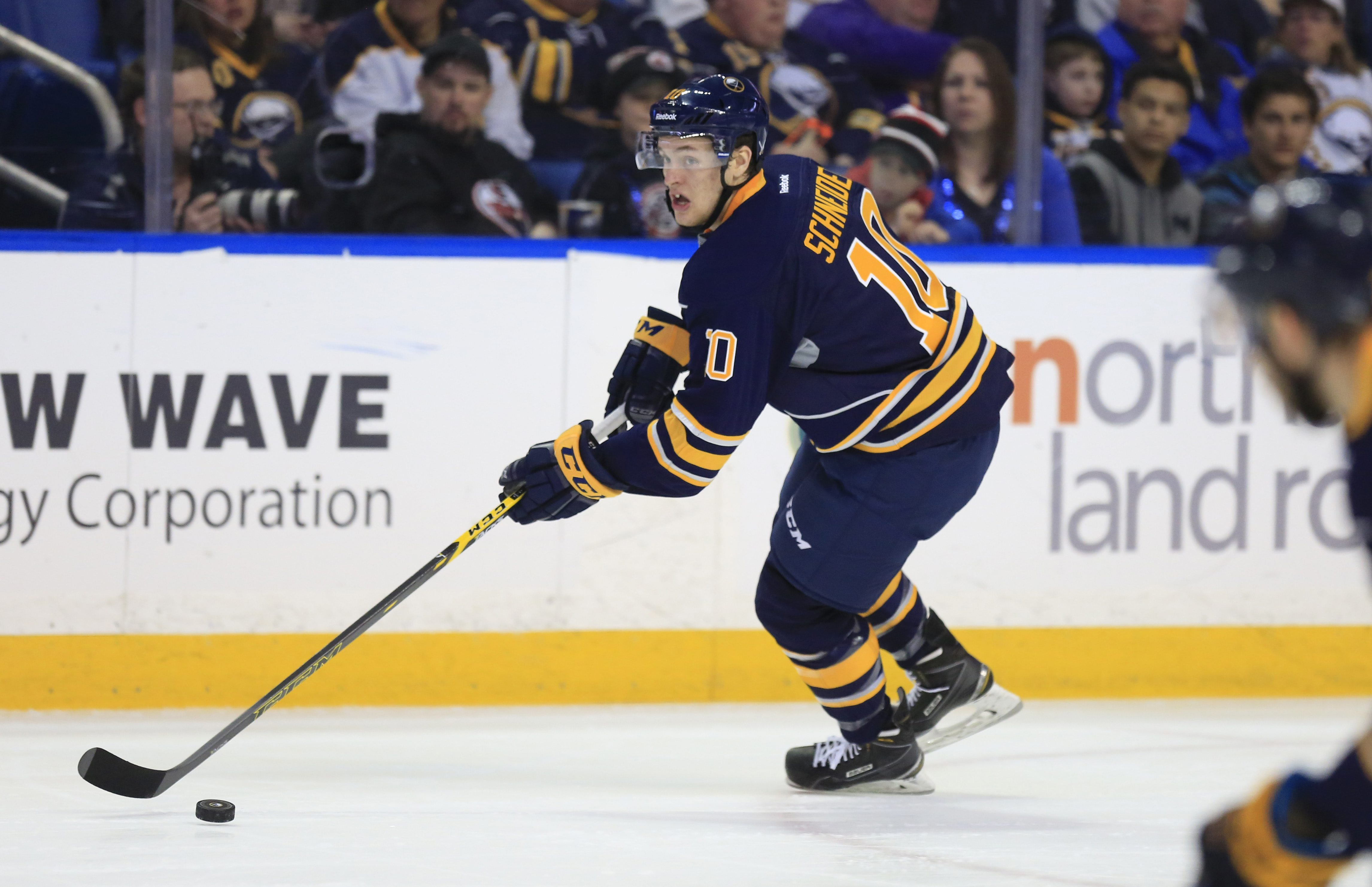 Cole Schneider skates up the ice during a Sabres game against Columbus last April. (Harry Scull Jr./Buffalo News)