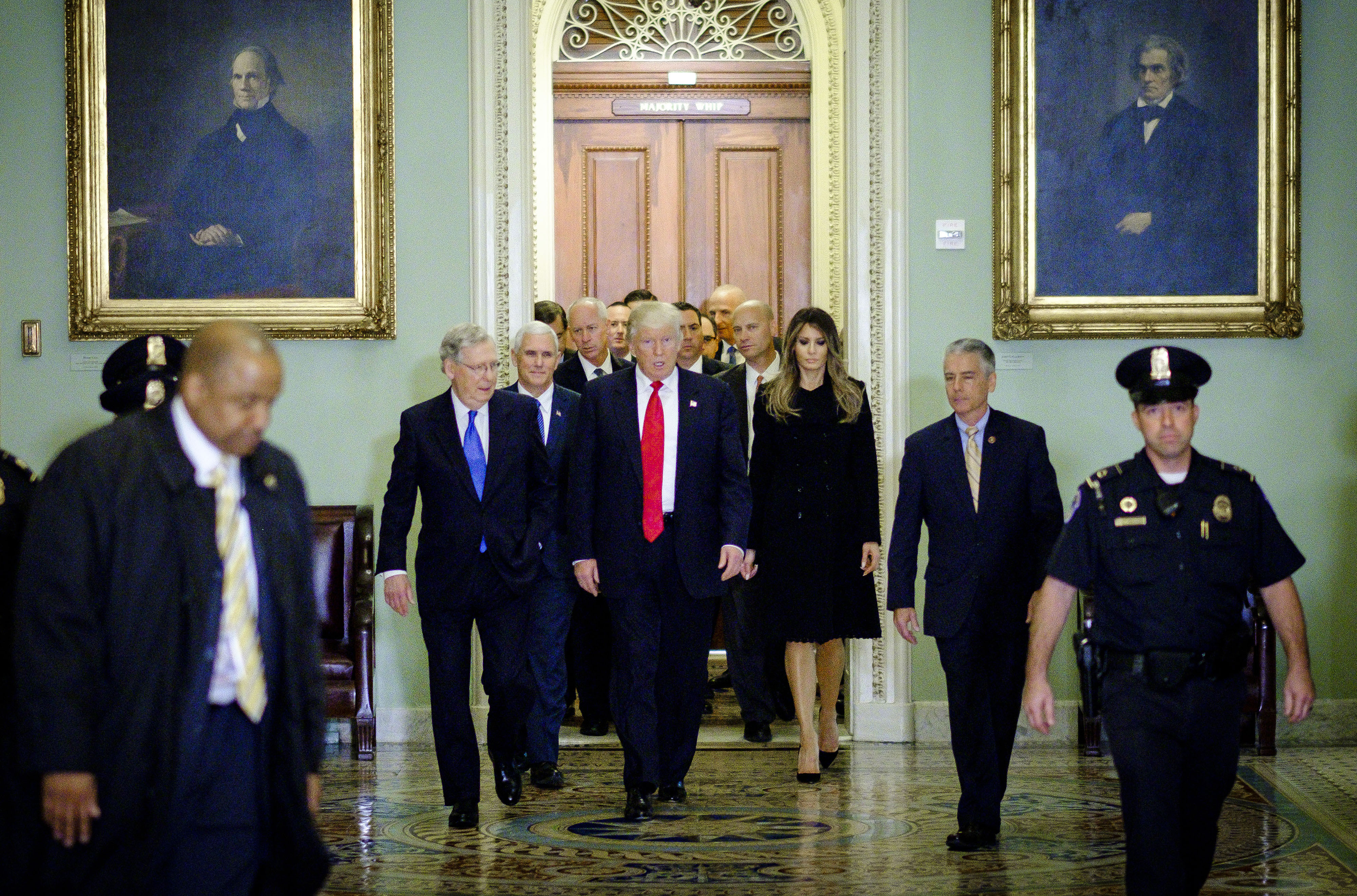 Donald Trump after a meeting at the U.S. Capitol on Nov. 10. (Bloomberg photo by Pete Marovich)