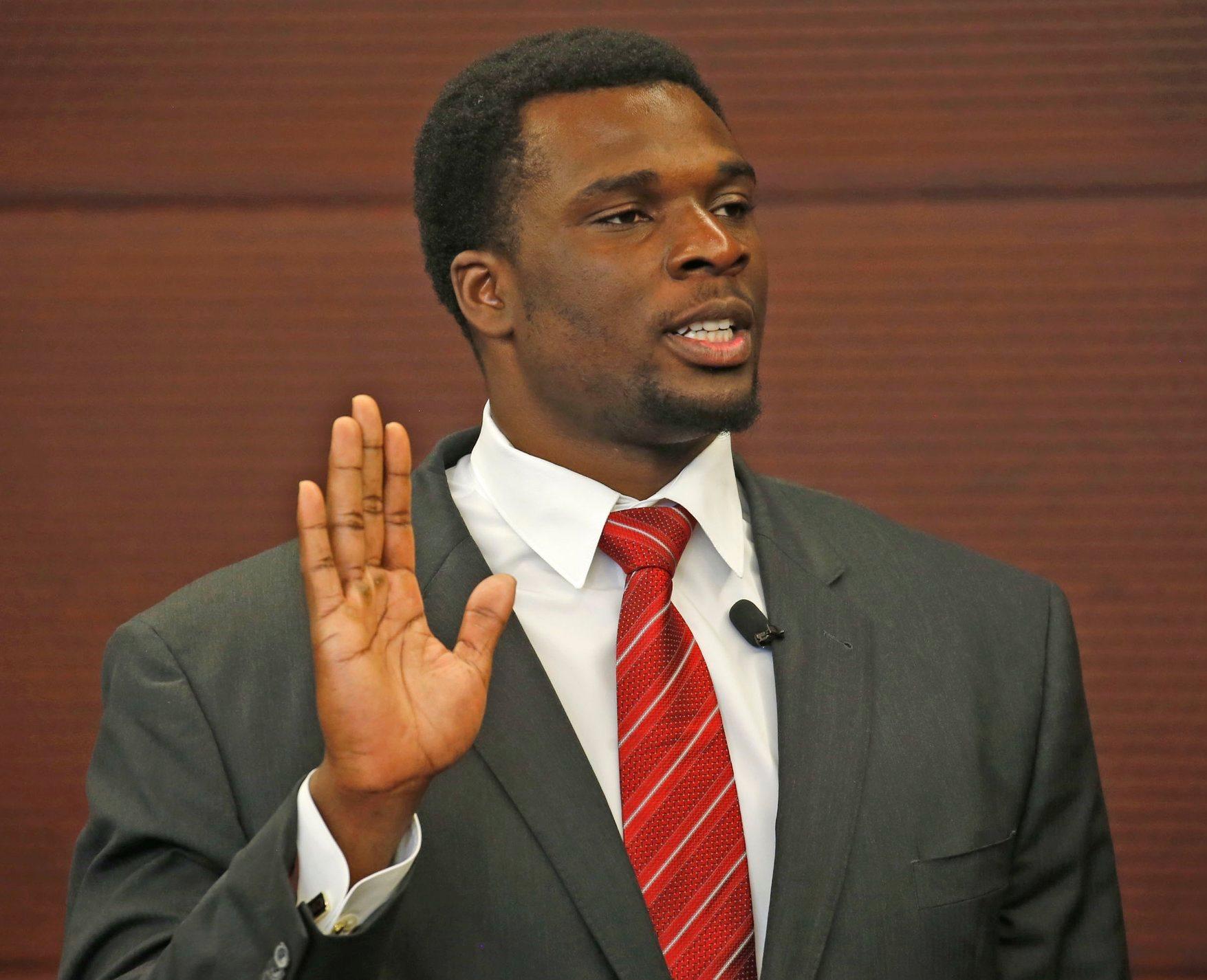 Buffalo Bills lineman Cyrus Kouandjio, originally from Cameroon, Africa, became a U.S. citizen today in Buffalo court. (Robert Kirkham/Buffalo News)