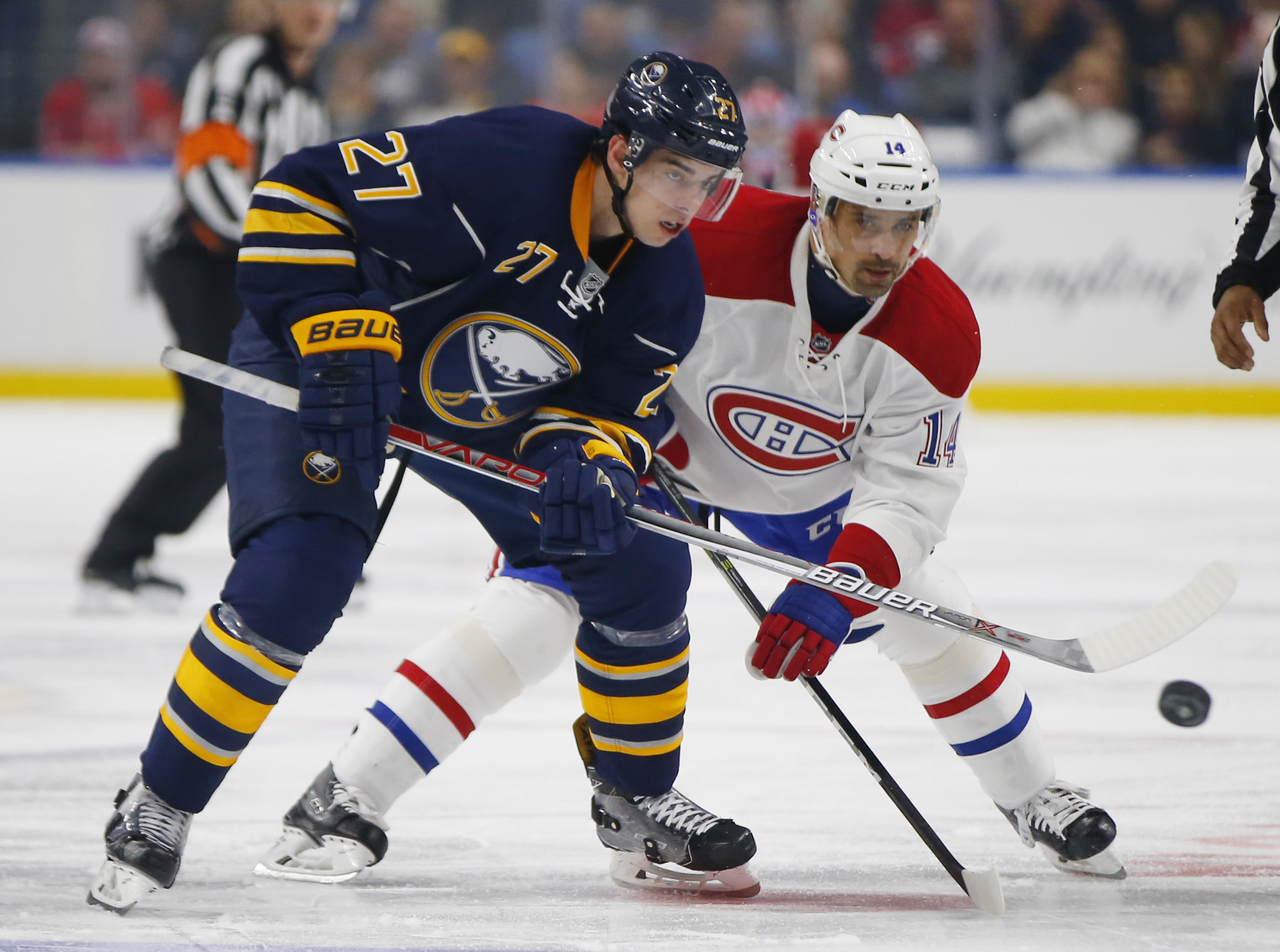 Derek Grant played 6:07 of shorthanded time for a Sabres penalty kill that was perfect against Winnipeg Sunday. (Harry Scull Jr./Buffalo News file photo)
