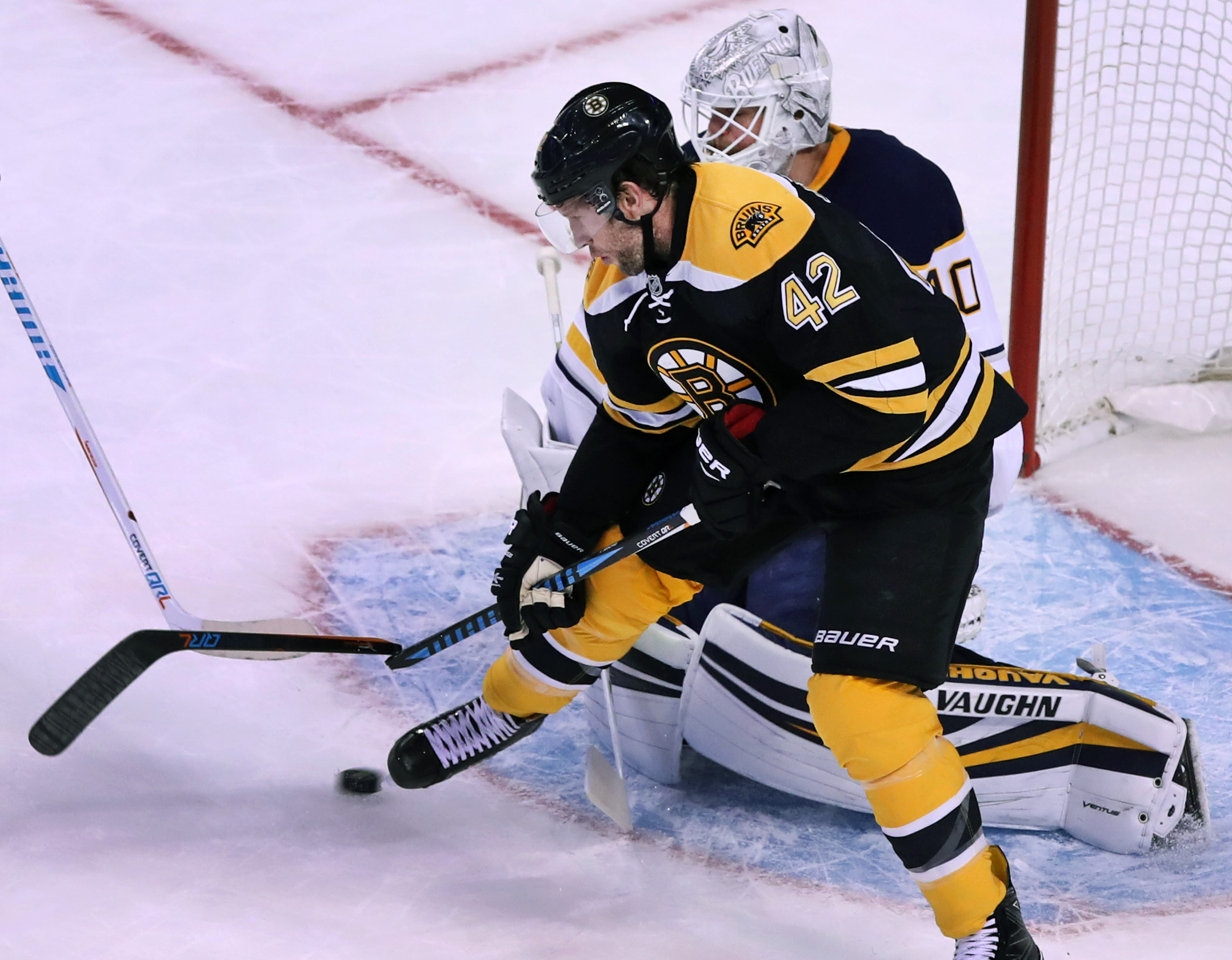 David Backes and Bruins made the night miserable for the Sabres and goalie Robin Lehner. (Jim Davis/Boston Globe Staff)