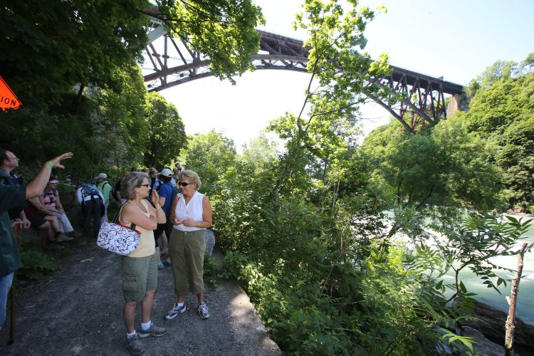 Hikers admire the view along a trail in the Niagara Gorge near an area pegged for habitat restoration work by the state Office of Parks, Recreation and Historic Preservation and the Western New York Land Conservancy. (Buffalo News file photo)