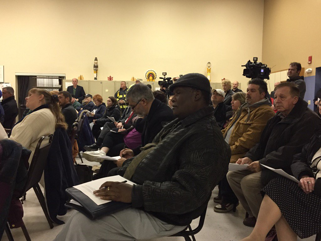 The Lackawanna Senior Center was packed with residents who wanted to hear air quality details from the fire at the former Bethlehem Steel Plant. (Karen Robinson/Buffalo News)