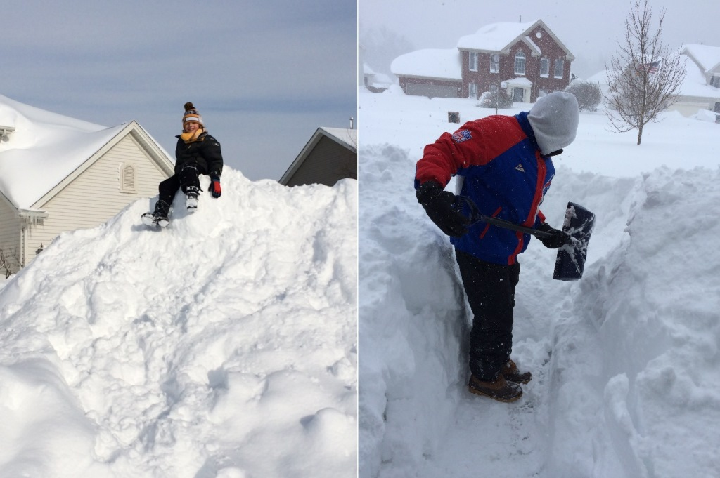 Karen Walkowiak sent these photos of her seven-year-old son enjoying a giant snow mountain and her husband shoveling out from the seven feet of snow at their Lancaster home.