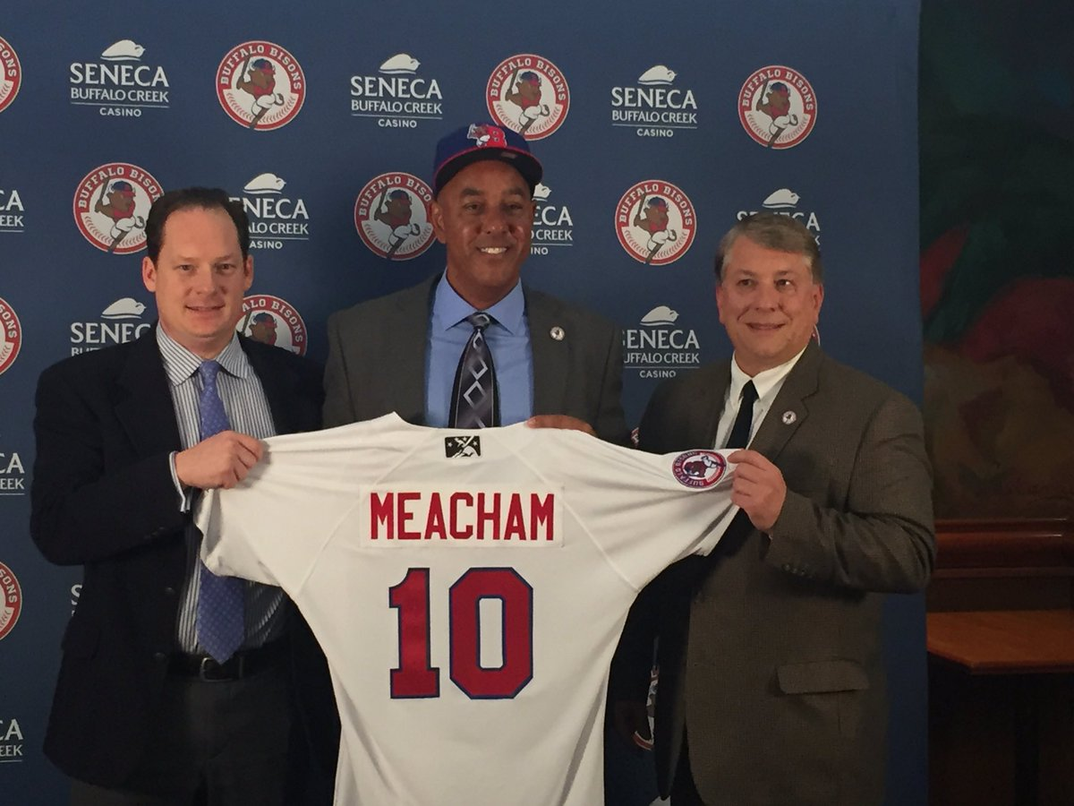 Bobby Meacham was introduced as the Bisons manager for 2017 flanked by   Charlie Wilson, Toronto Blue Jays Director of Minor League Operations, and Mike Buczkowski, Buffalo Bisons General Manager.