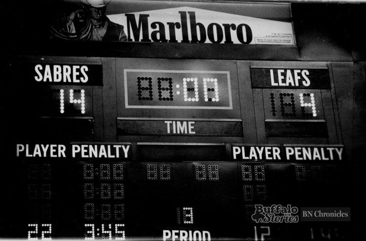 The score after two periods at Memorial Auditorium. Toronto's three goals combined for the most ever scored in an NHL game.