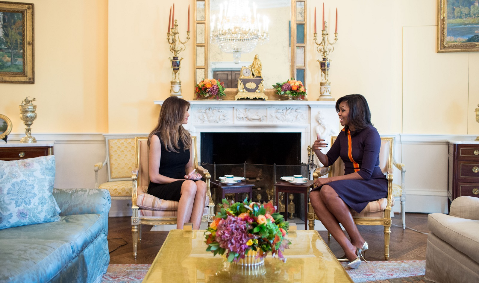 First lady Michelle Obama meets with Melania Trump for tea in the Yellow Oval Room at the White House on Nov. 10. White House (Photo by Chuck Kennedy)