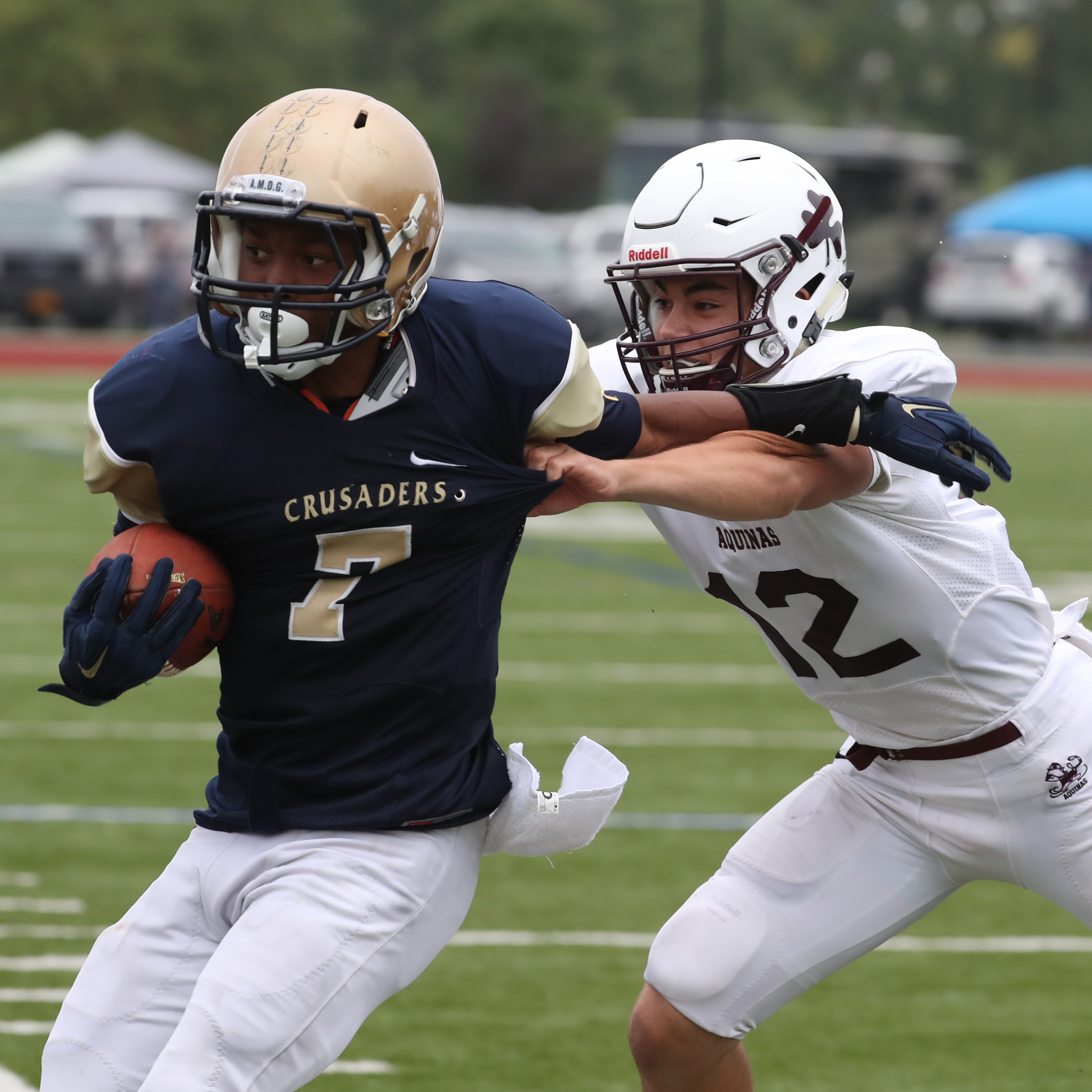 Keenan Ollison, pictured making an interception against Aquinas, and Canisius' defensive backs are ready for the challenge posed by Cardinal Hayes' passing game. (James P. McCoy/ Buffalo News)